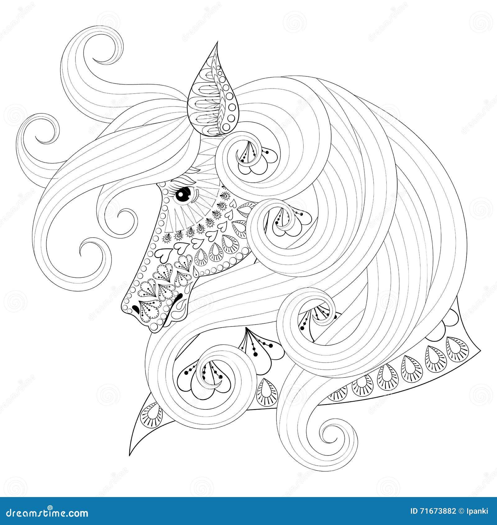 Leuke Paarde Kleurplaat Hand Getrokken Zentangle Sierpaard Voor Volwassen
