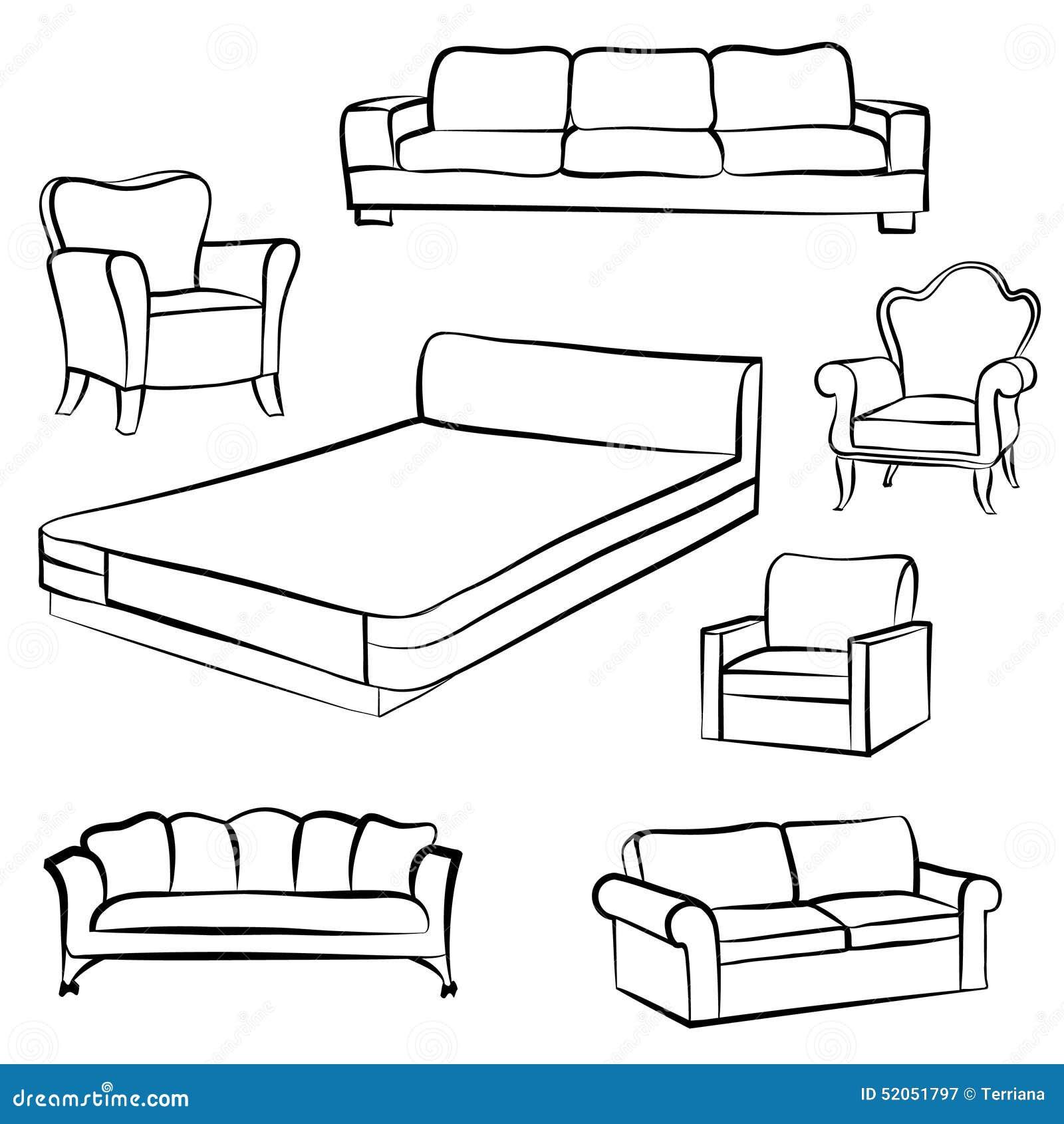 Sofa gezeichnet  Hand Gezeichnete Abbildung Auf Weiß Innendetailentwurfssammlung ...
