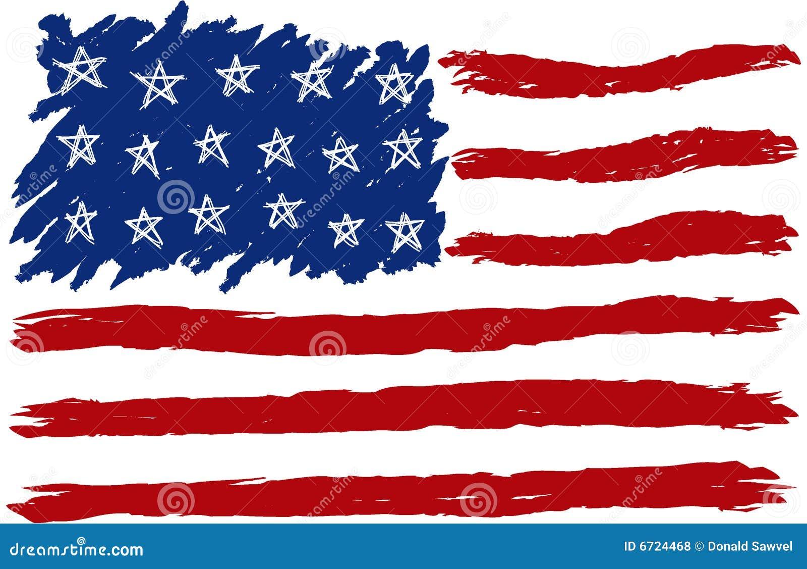 Hand Gezeichnete Amerikanische Flagge Lizenzfreie ...