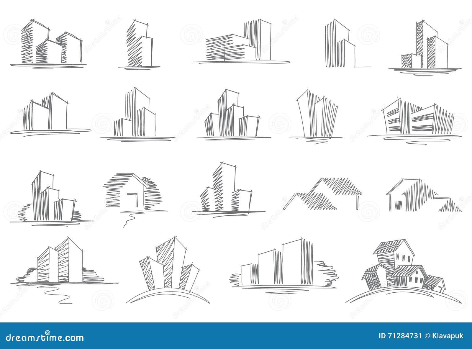 Hand Gezeichnete Architekturskizzen Vektor Abbildung