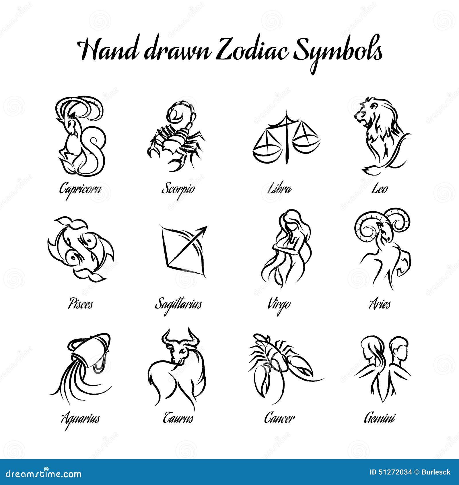 Hand Gezeichnete Astrologische Tierkreissymbole Oder Vektor