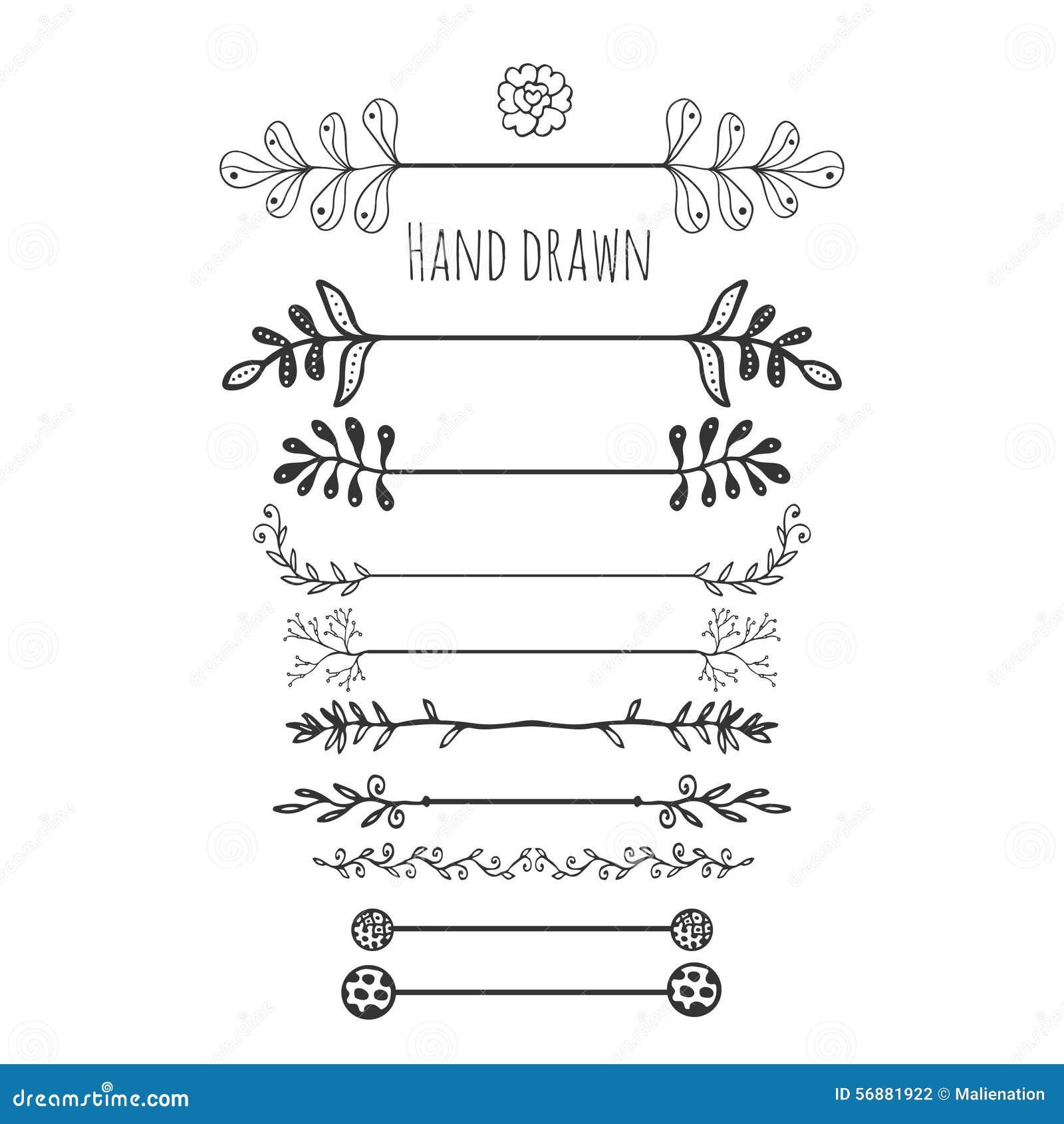 Hand gezeichnete Blumenelemente Gezeichnete Grenze der Sammlung Hand mit Tintengekritzeldekoration Retro- Art Lorbeer, Blätter, P