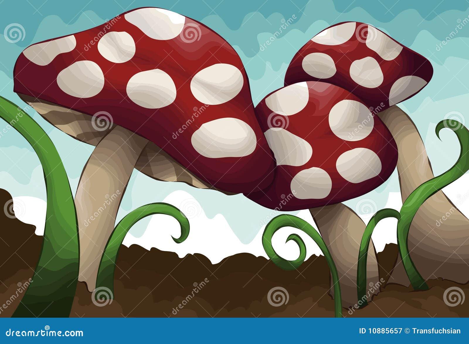Hand Gezeichnete Dargestellte Gruppe Pilze Lizenzfreie
