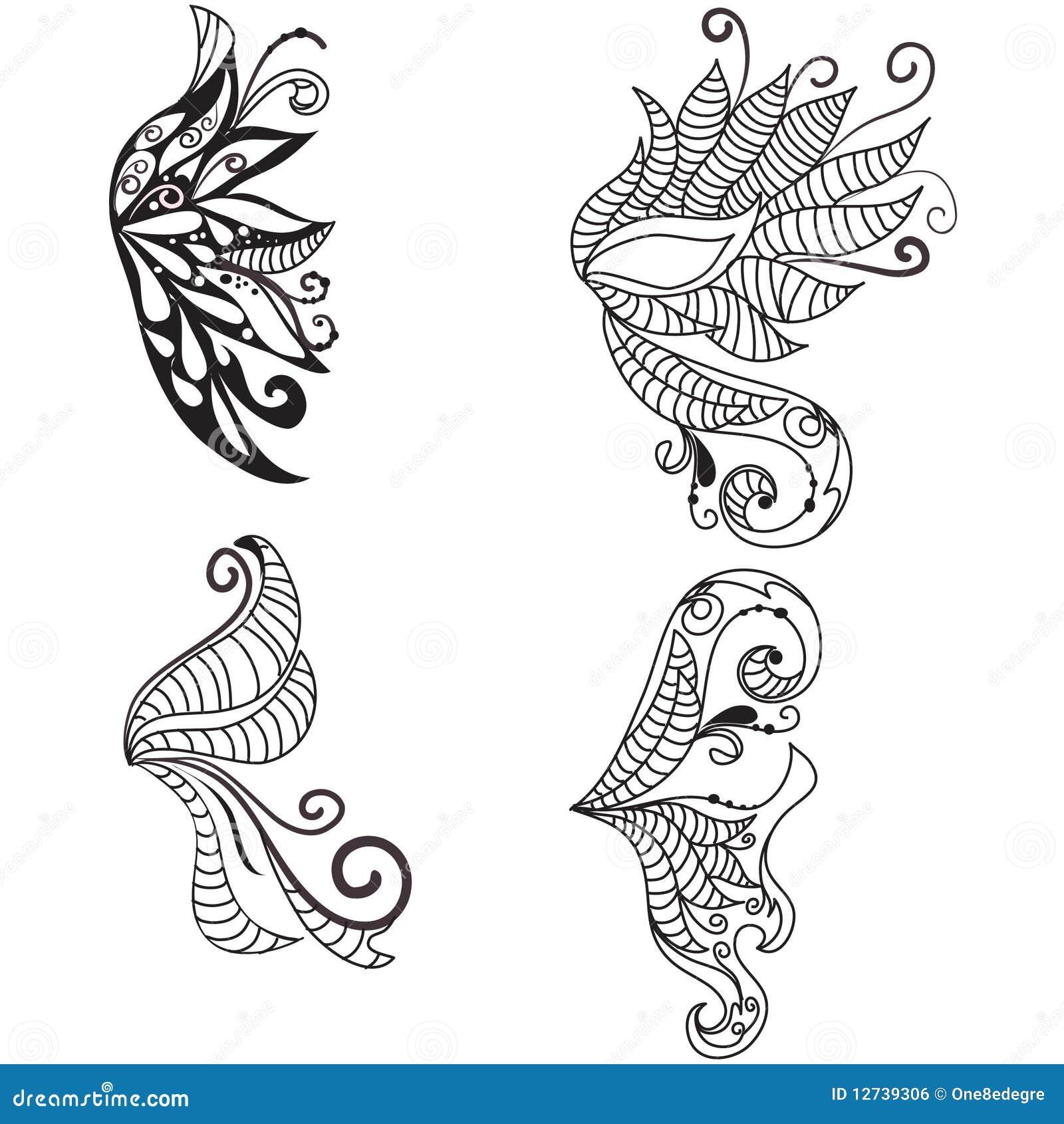 hand gezeichnete gekritzelte fl gel lizenzfreies stockbild bild 12739306. Black Bedroom Furniture Sets. Home Design Ideas