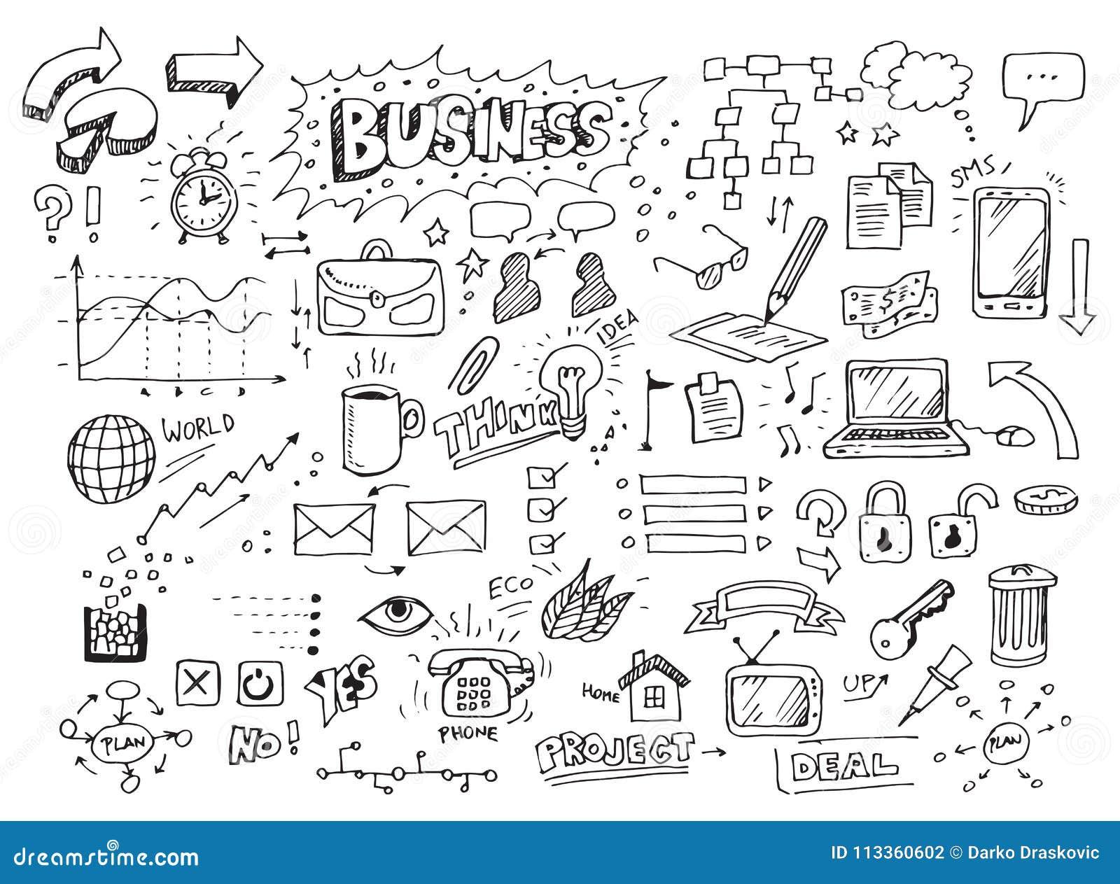 Hand gezeichnete Geschäftsgekritzel