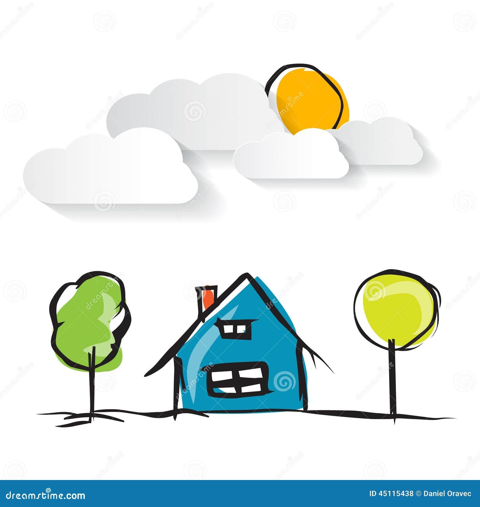 Haus Bild: Hand Gezeichnete Haus-Illustration Mit Papierwolken Vektor