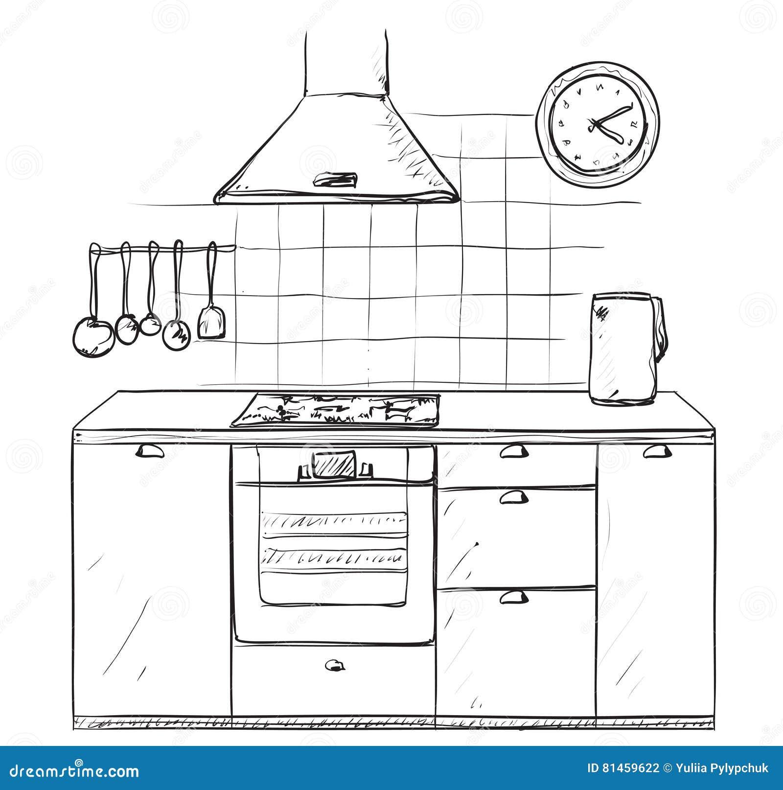 hand gezeichnete küche möbelskizze vektor abbildung