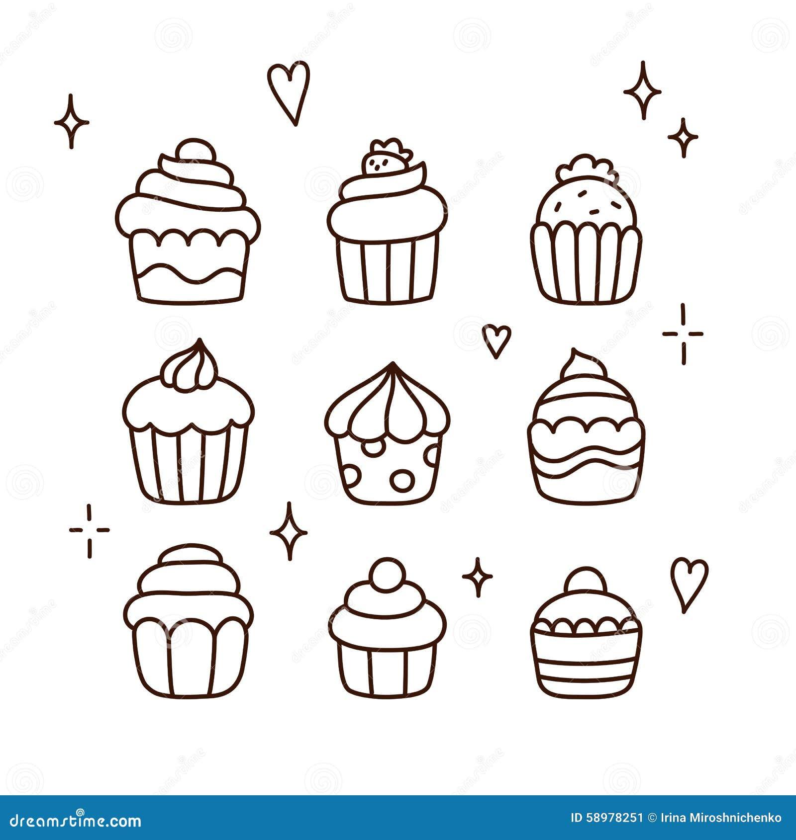 Hand Gezeichnete Kleine Kuchen Vektor Abbildung Illustration Von