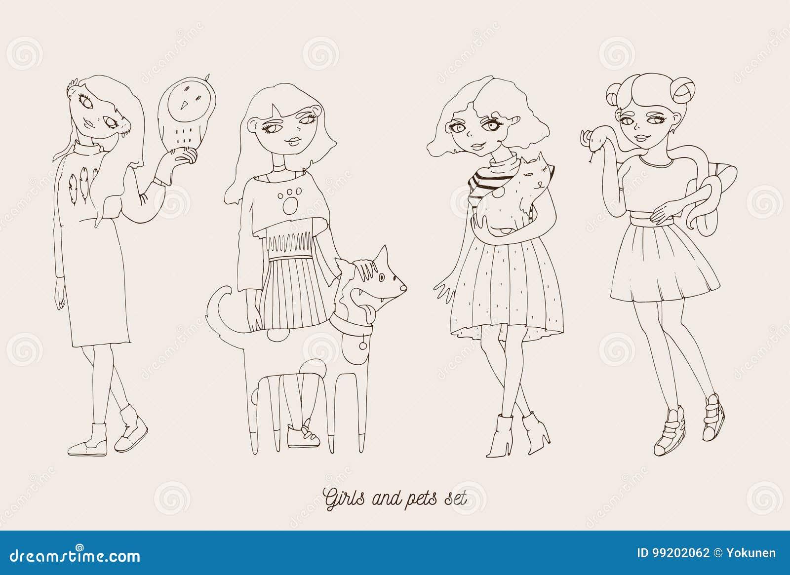 Hand gezeichnete Mädchencharaktere mit netten Haustieren als Hund, Katze, Schlange und Eule Reizende Haupthaustiere mit liebevoll