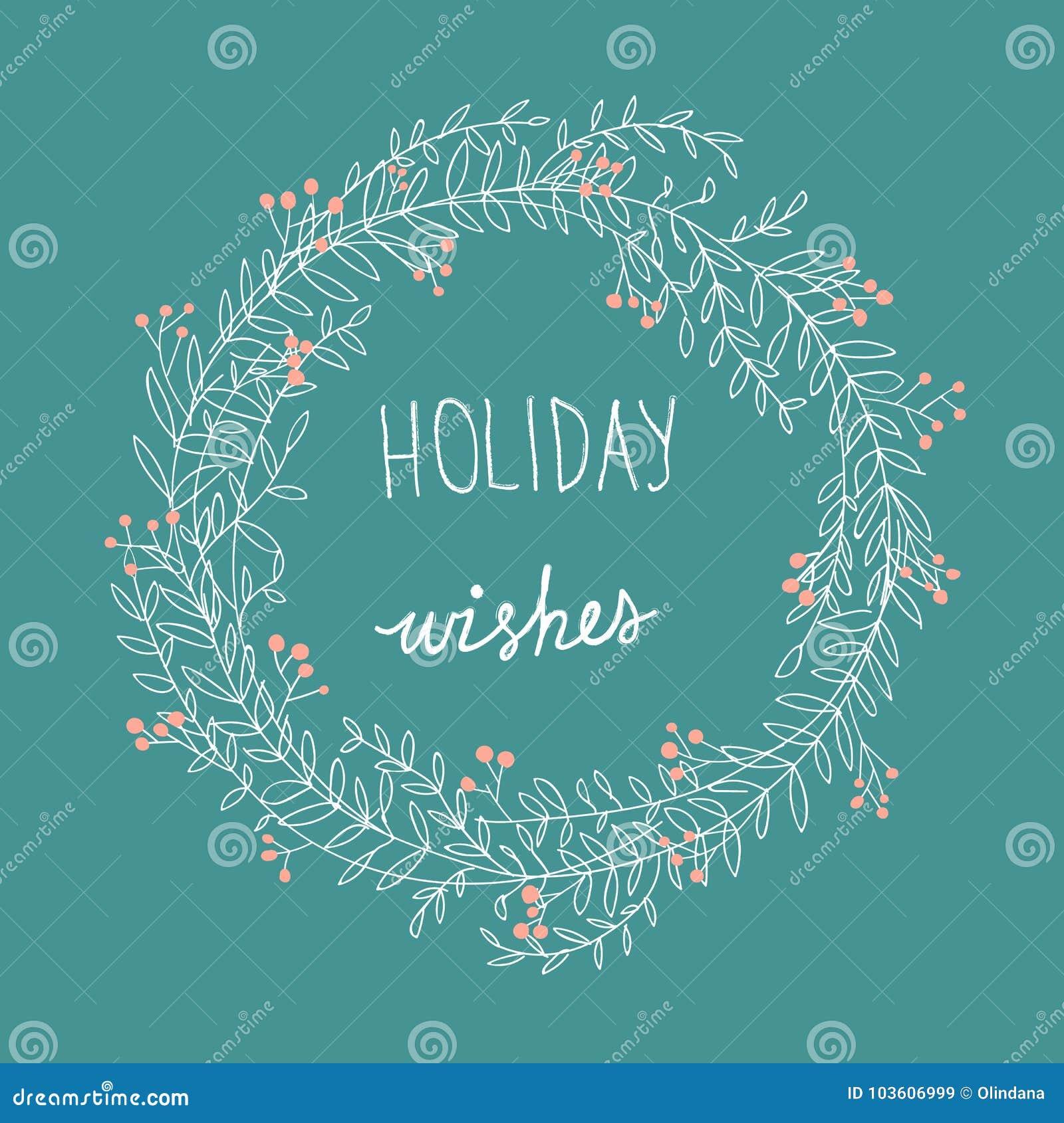 Hand gezeichnete nachlässige Gekritzel-weiße Weihnacht windt rote Holly Berries Holiday Wishes Lettering Überlagert, einfach zu b