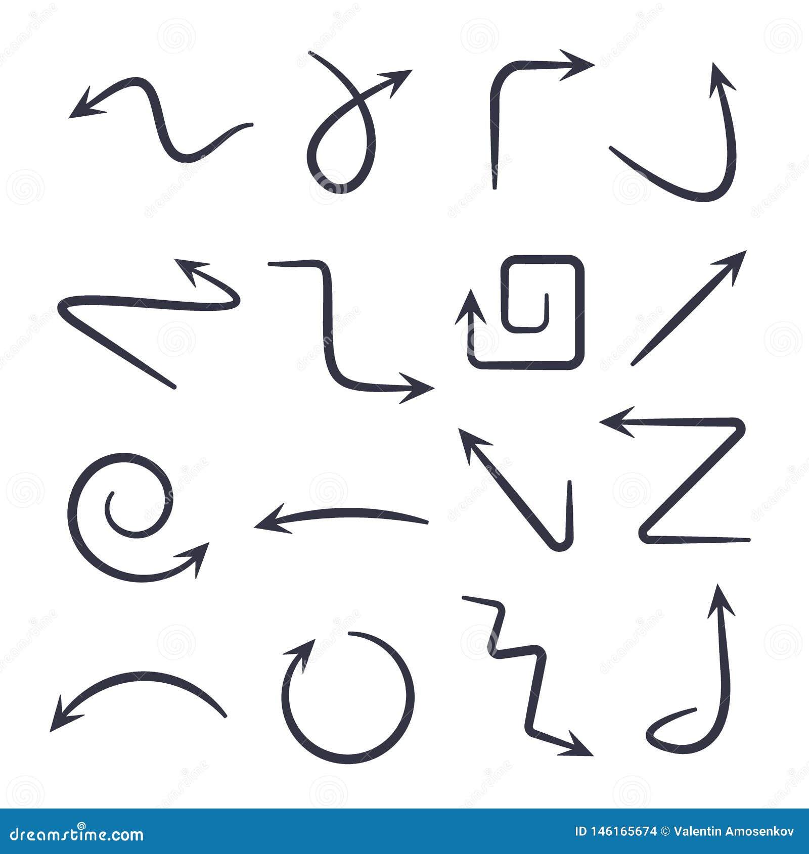 Hand gezeichnete Pfeile Gezeichnete Pfeile des Vektors Hand stellten lokalisiert auf Wei? ein