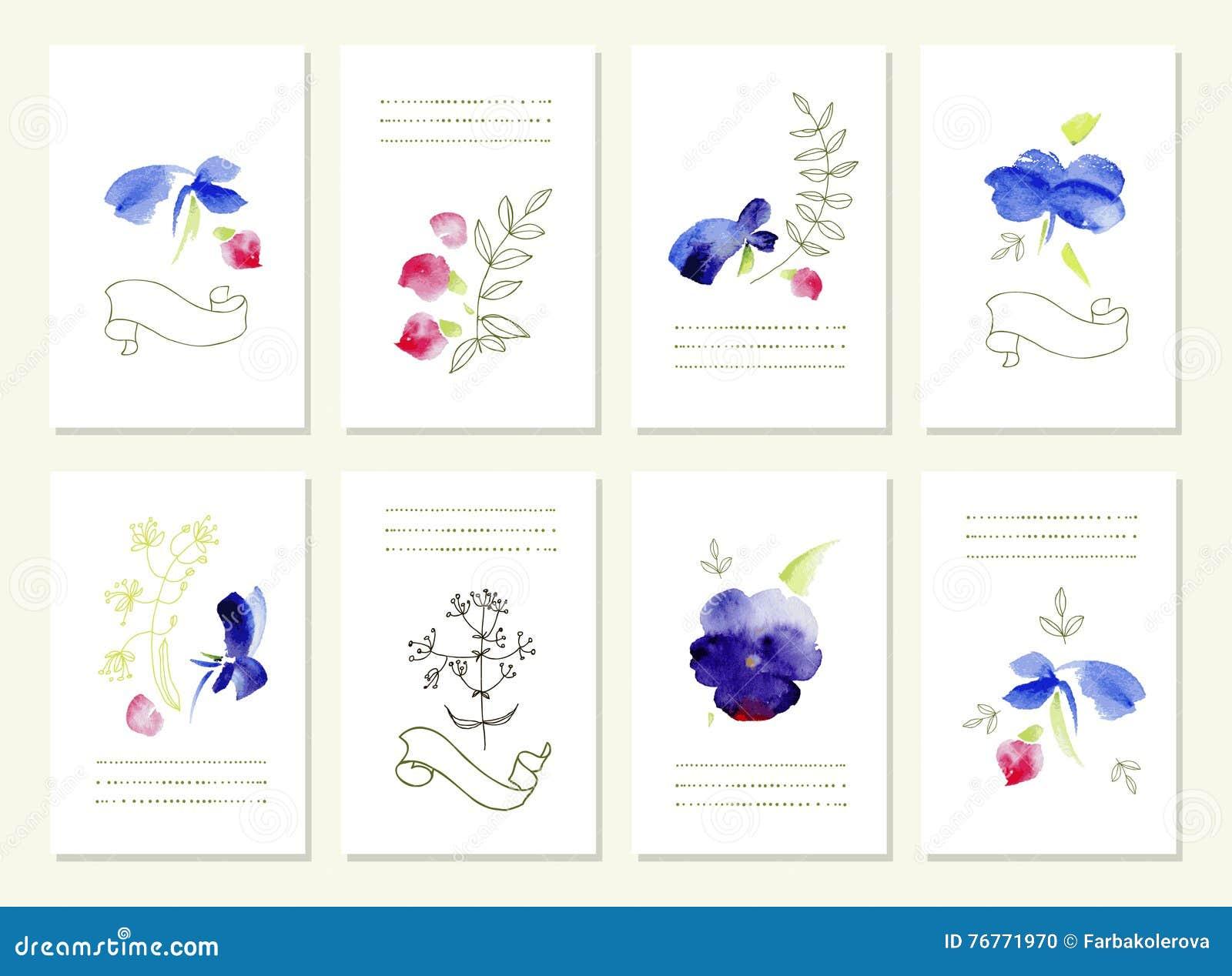 Außergewöhnlich Download Hand Gezeichnete Sammlung Romantische Blumeneinladungen Hochzeit,  Geburtstag, Tag Des Valentinsgrußes S Vektor Abbildung
