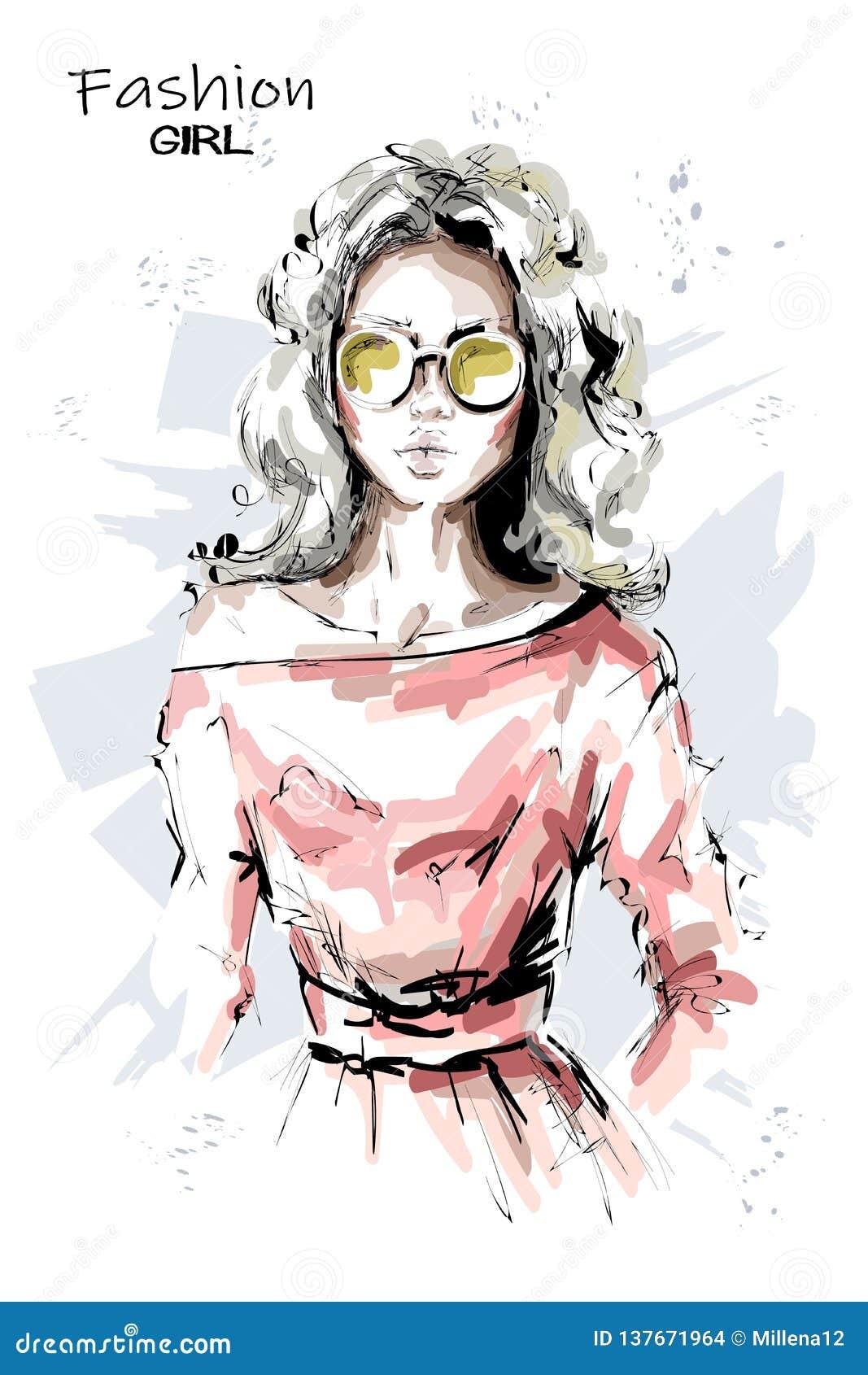 Hand gezeichnete schöne junge Frau in der Sonnenbrille Stilvolles Mädchen des blonden Haares Modefrauenblick skizze