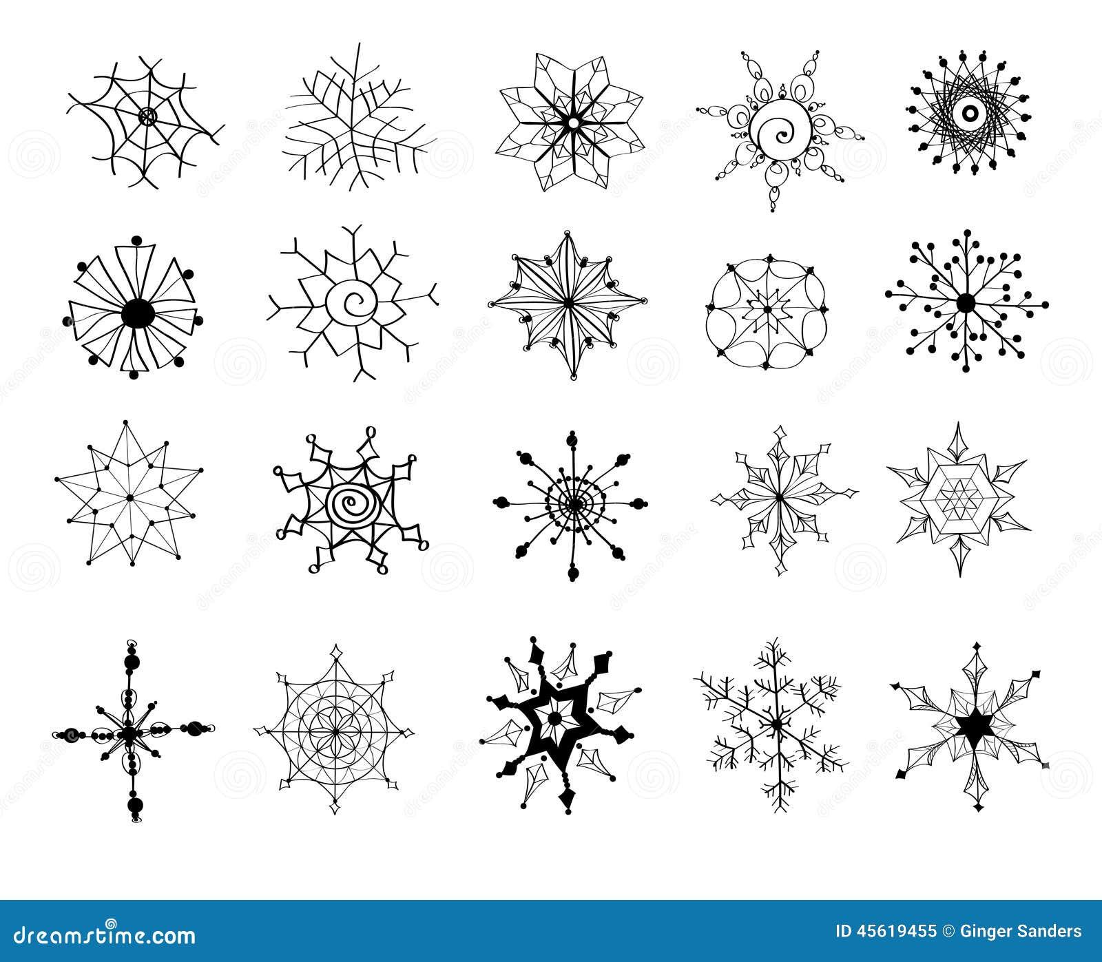 hand gezeichnete schneeflocken eingestellt von 20