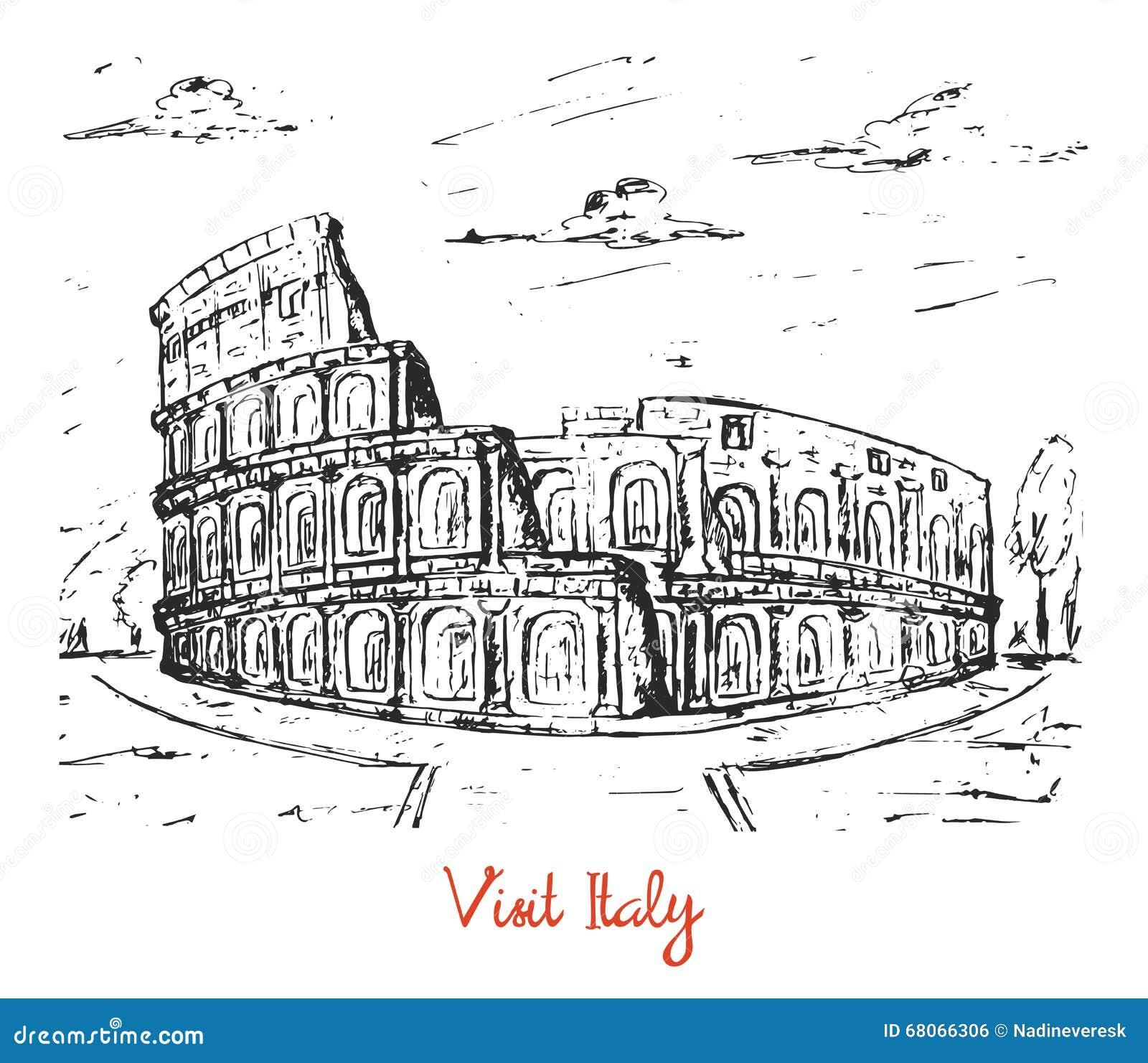 Hand gezeichnete Skizze des italienischen Kolosseums