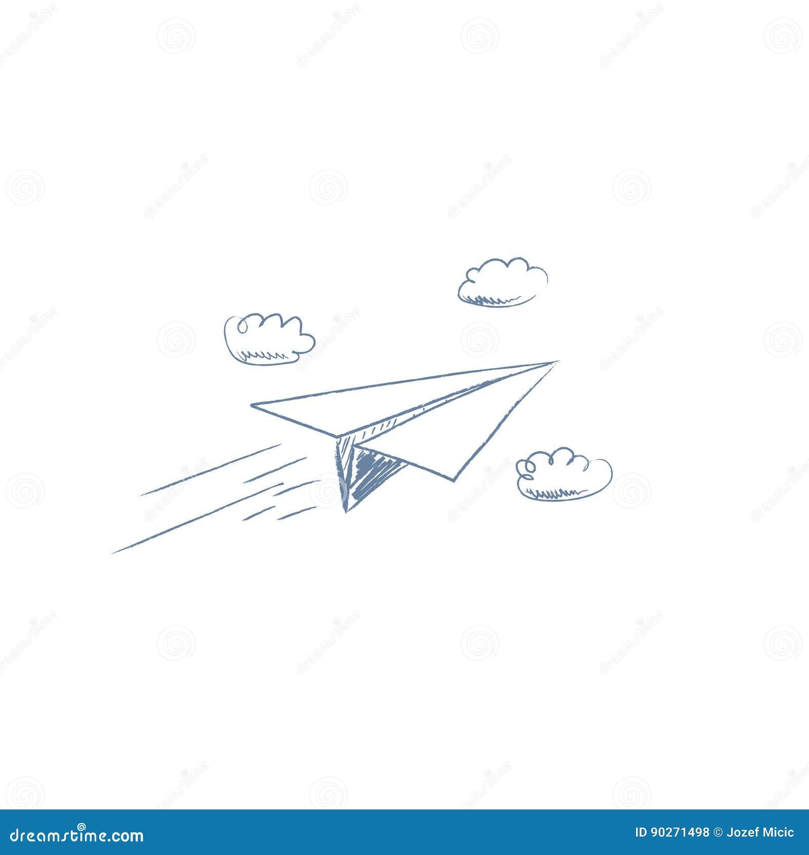 Hand Gezeichnete Skizze Des Papierflugzeugfliegens Zwischen Wolken ...