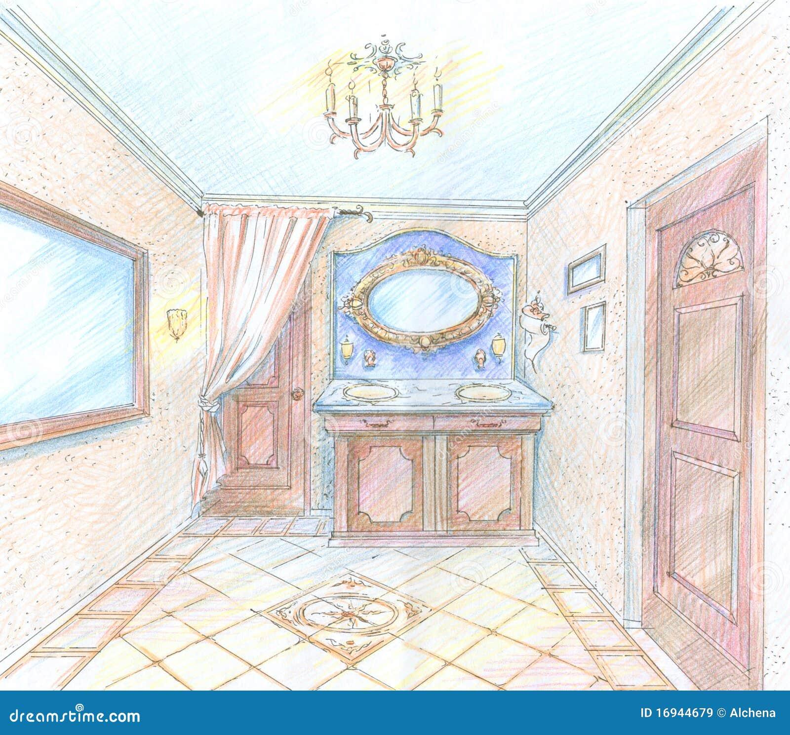 Hand gezeichnete skizze eines waschraumes lizenzfreie for 3d raum zeichnen