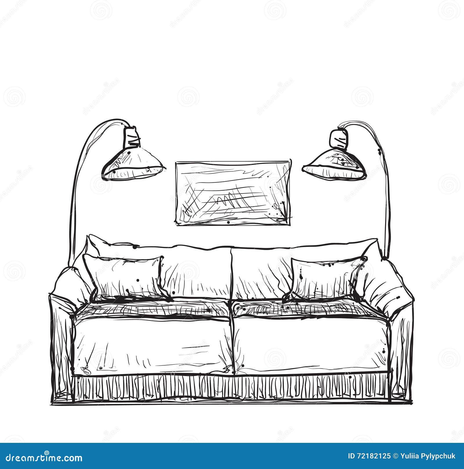 Sofa gezeichnet  Sofa Gezeichnet: Unter
