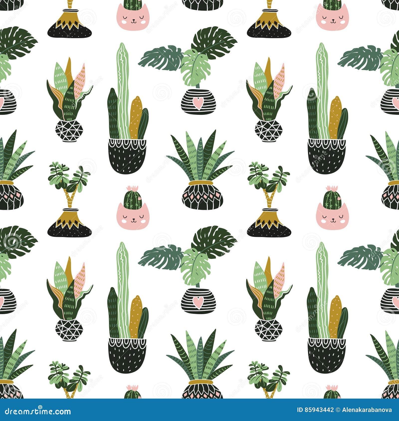 Download Hand Gezeichnete Tropische Zimmerpflanzen Skandinavische  Artillustration, Vector Nahtloses Muster Für Gewebe, Tapezieren Oder