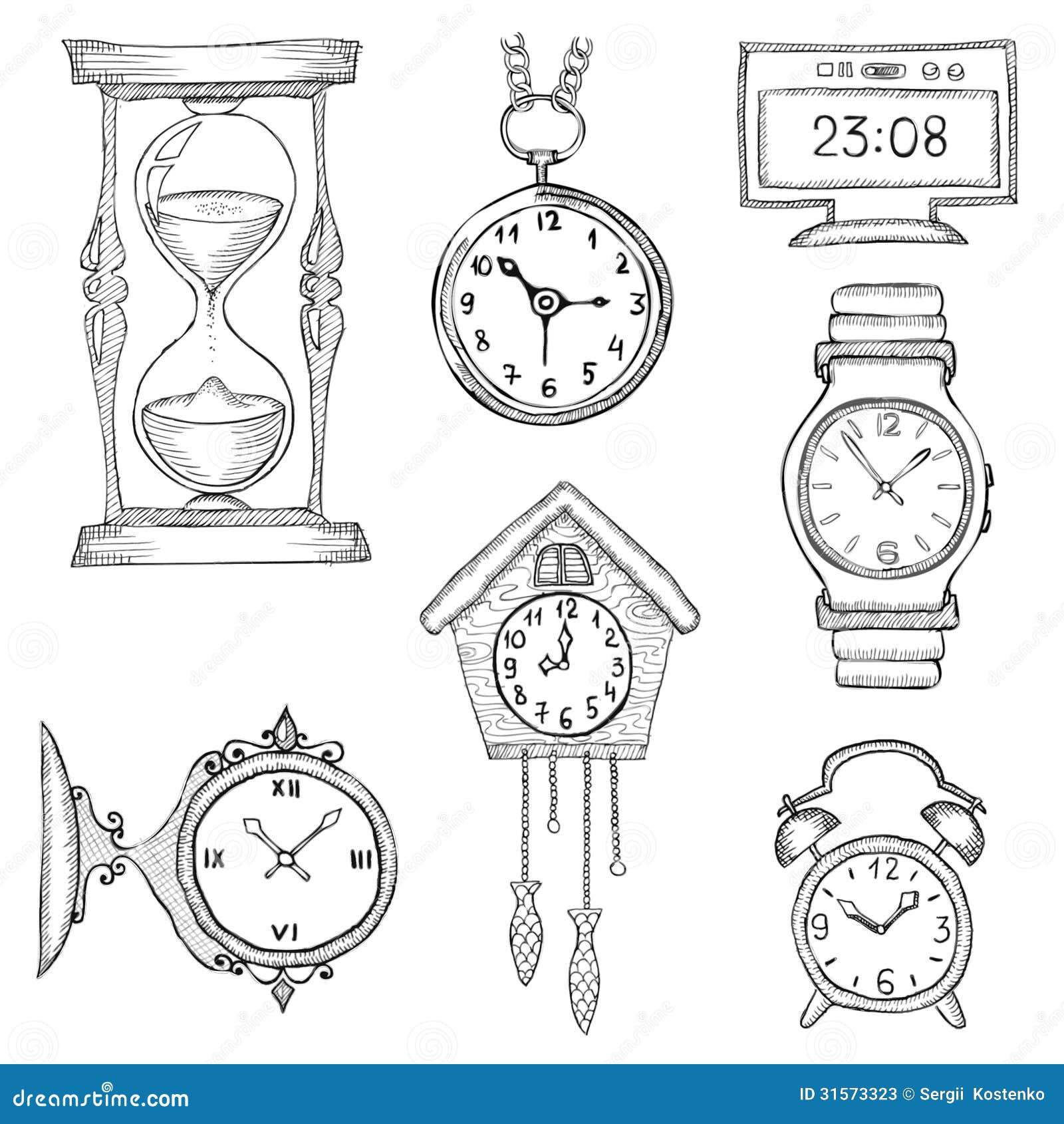 Armbanduhr gezeichnet  Hand Gezeichnete Uhren Eingestellt Stockfotos - Bild: 31573323
