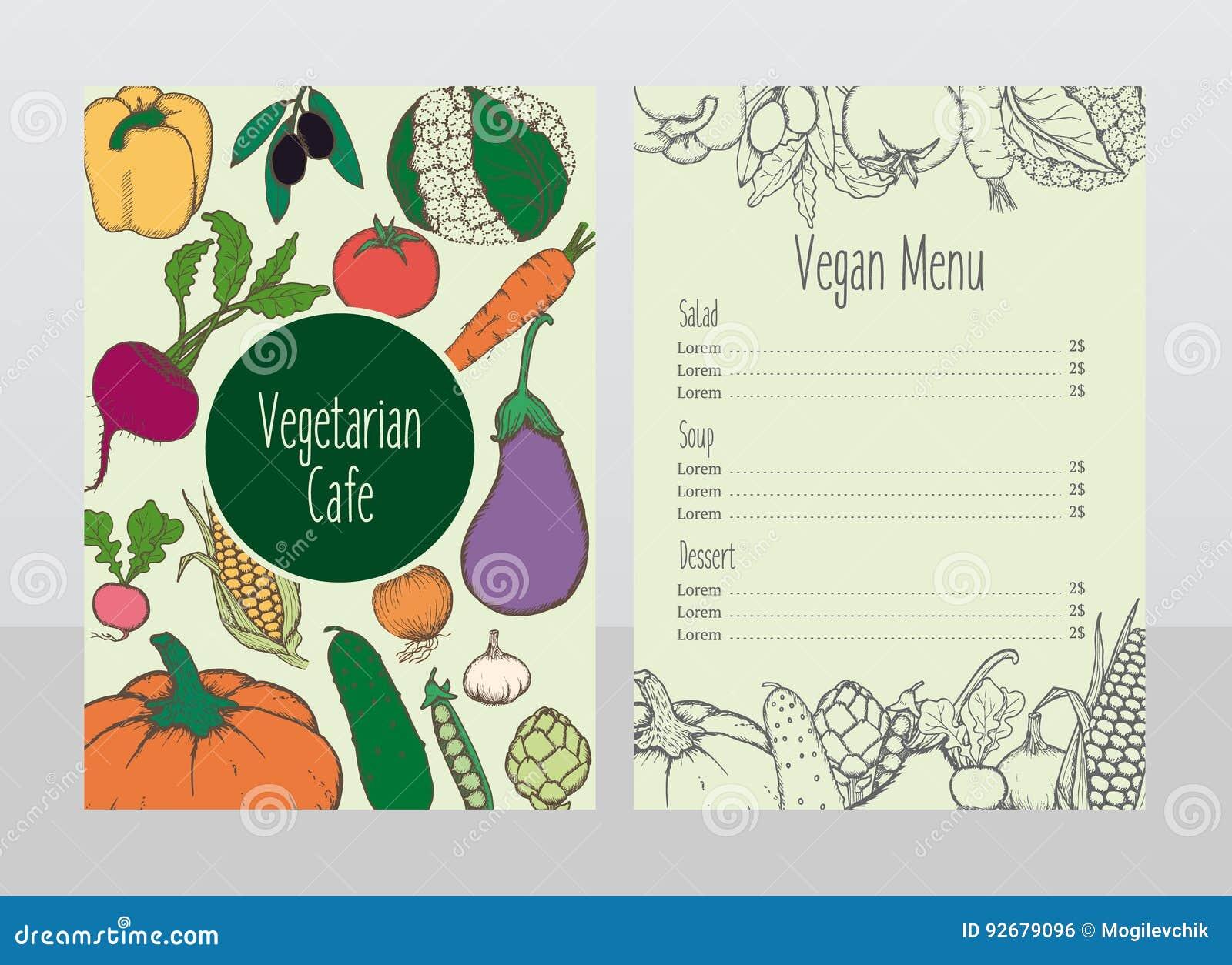 Hand Gezeichnete Vegetarische Café-Menü-Schablone Vektor Abbildung ...
