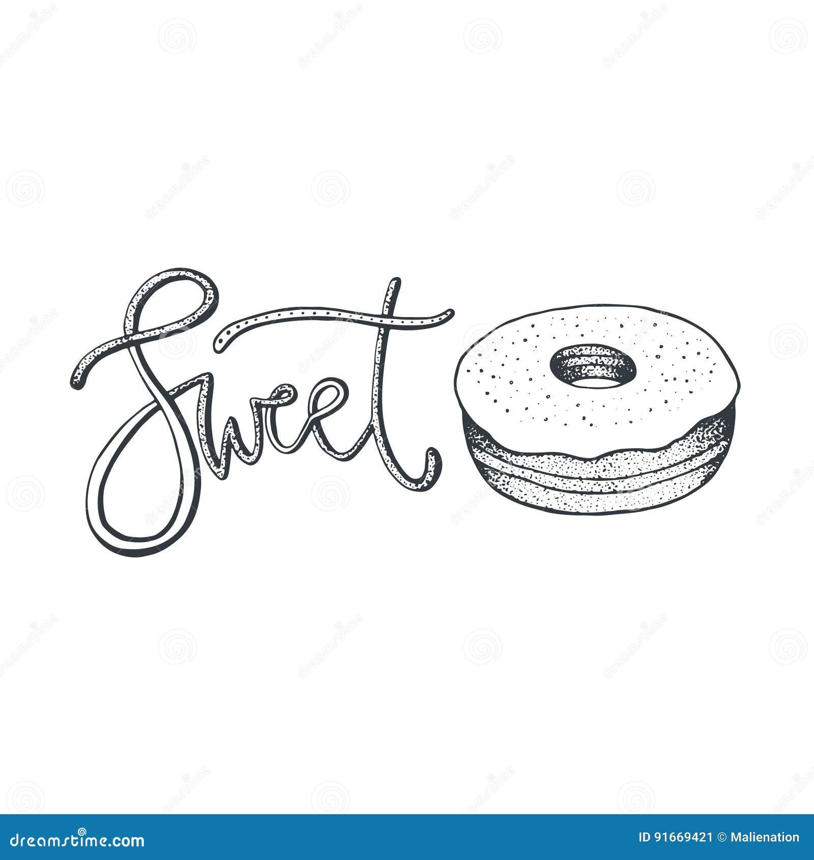 Hand Gezeichnete Vektorabbildung Donutskizze Lokalisiert Süße
