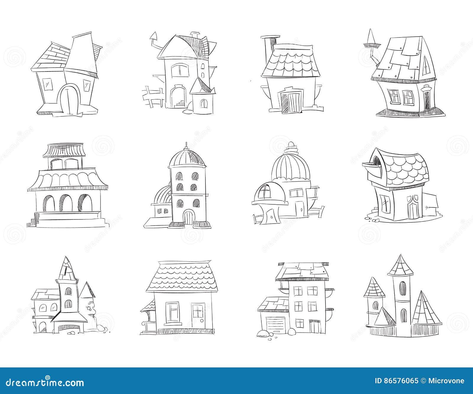 Hand Gezeichnete Verschiedene Hauser Der Karikatur Gebaude