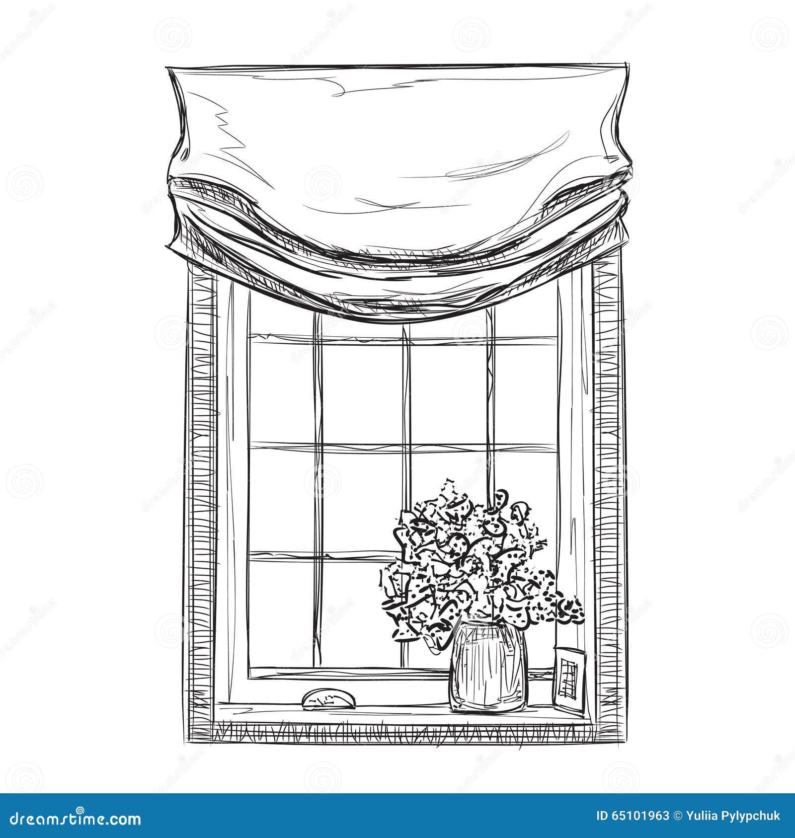 Hand Gezeichnete Windows-Skizze Vektor Abbildung - Bild: 65101963