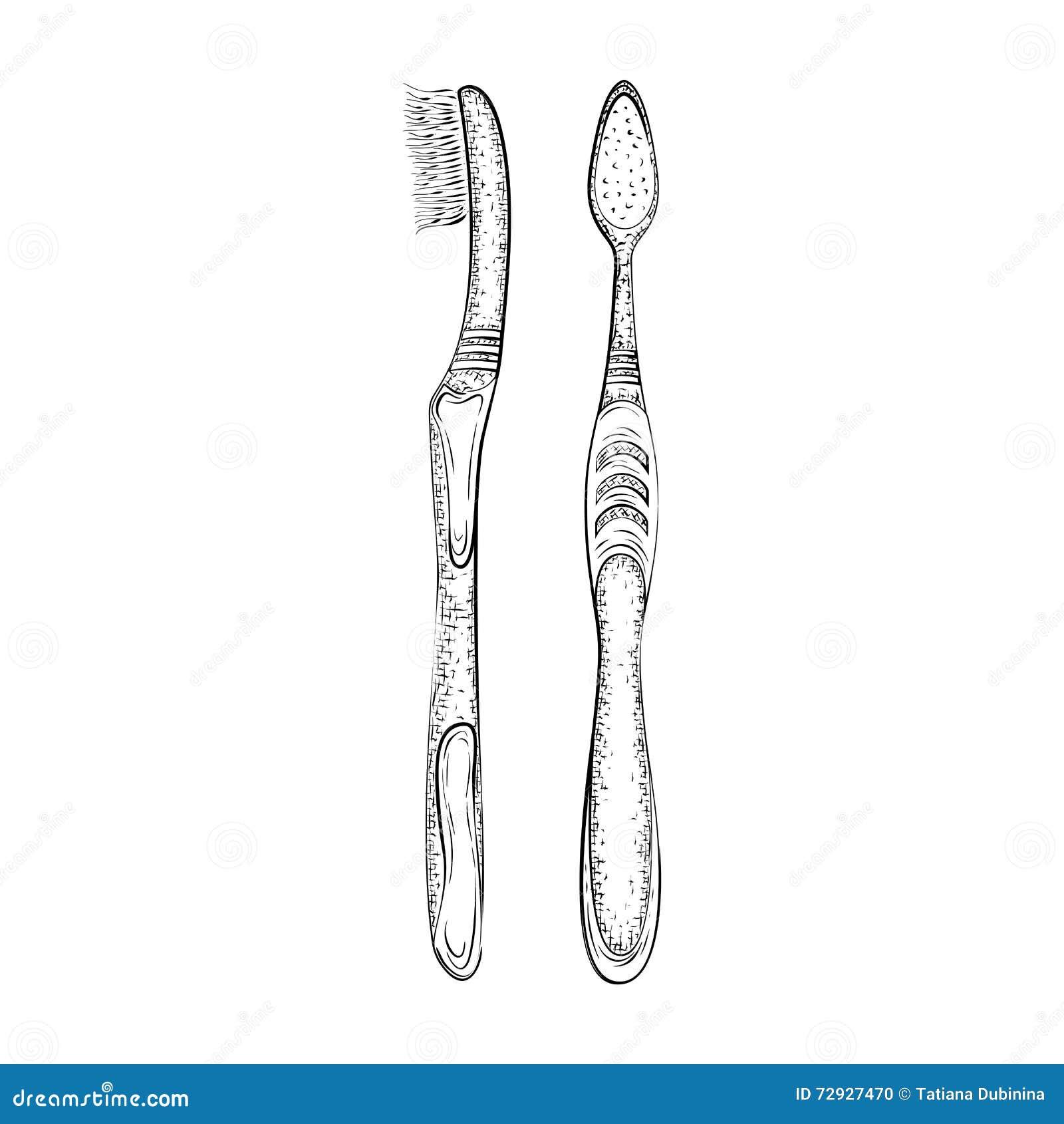 Line Art Brush By Jimro : Hand gezeichnete zahnbürste vektor abbildung bild