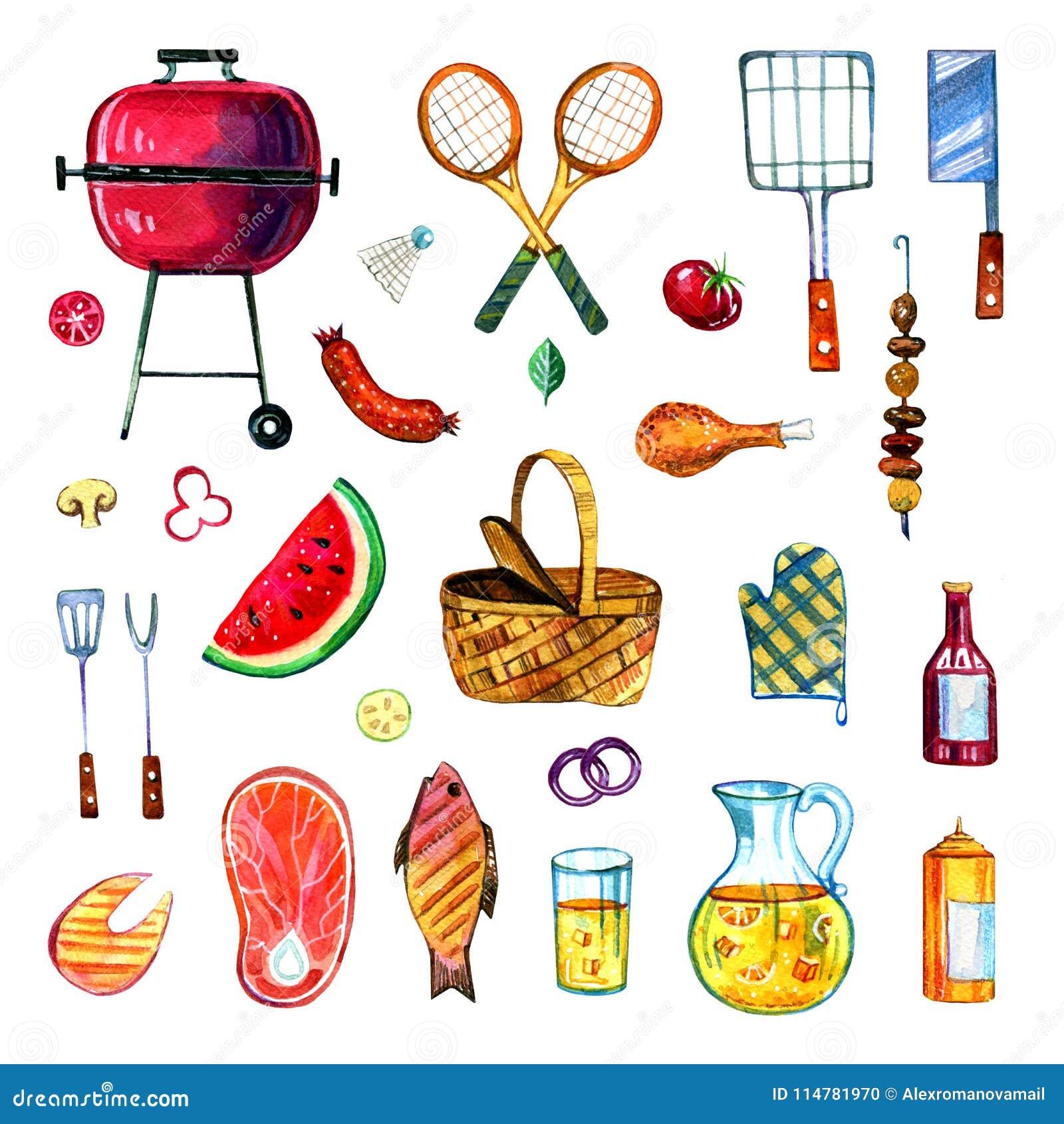 Hand gezeichneter Aquarellsatz verschiedene Gegenstände für Picknick, den Sommer heraus essend und Grill