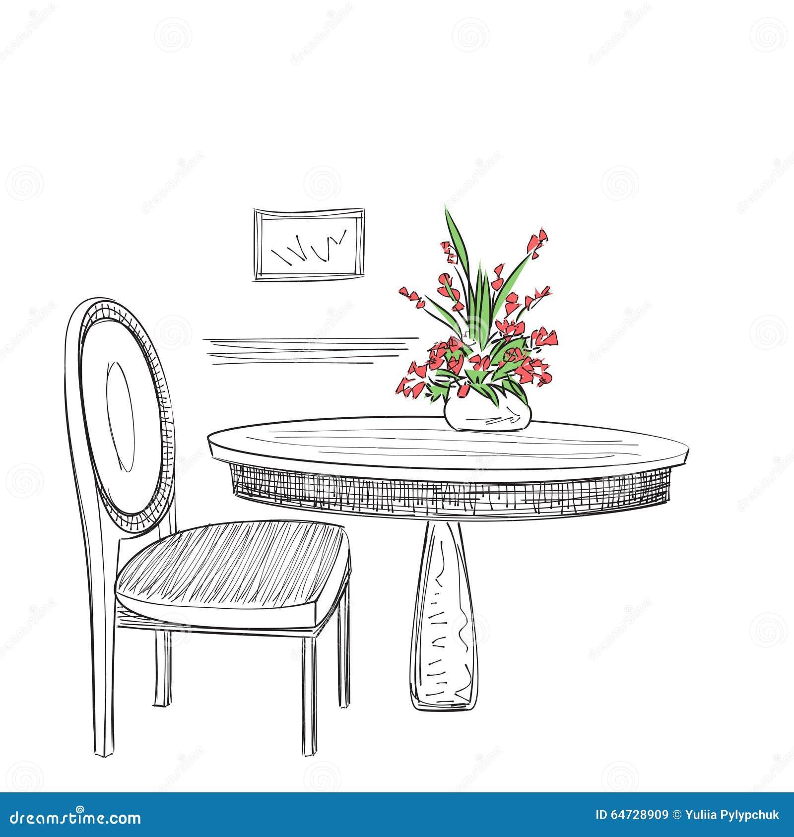 Hand gezeichneter Caféinnenraum