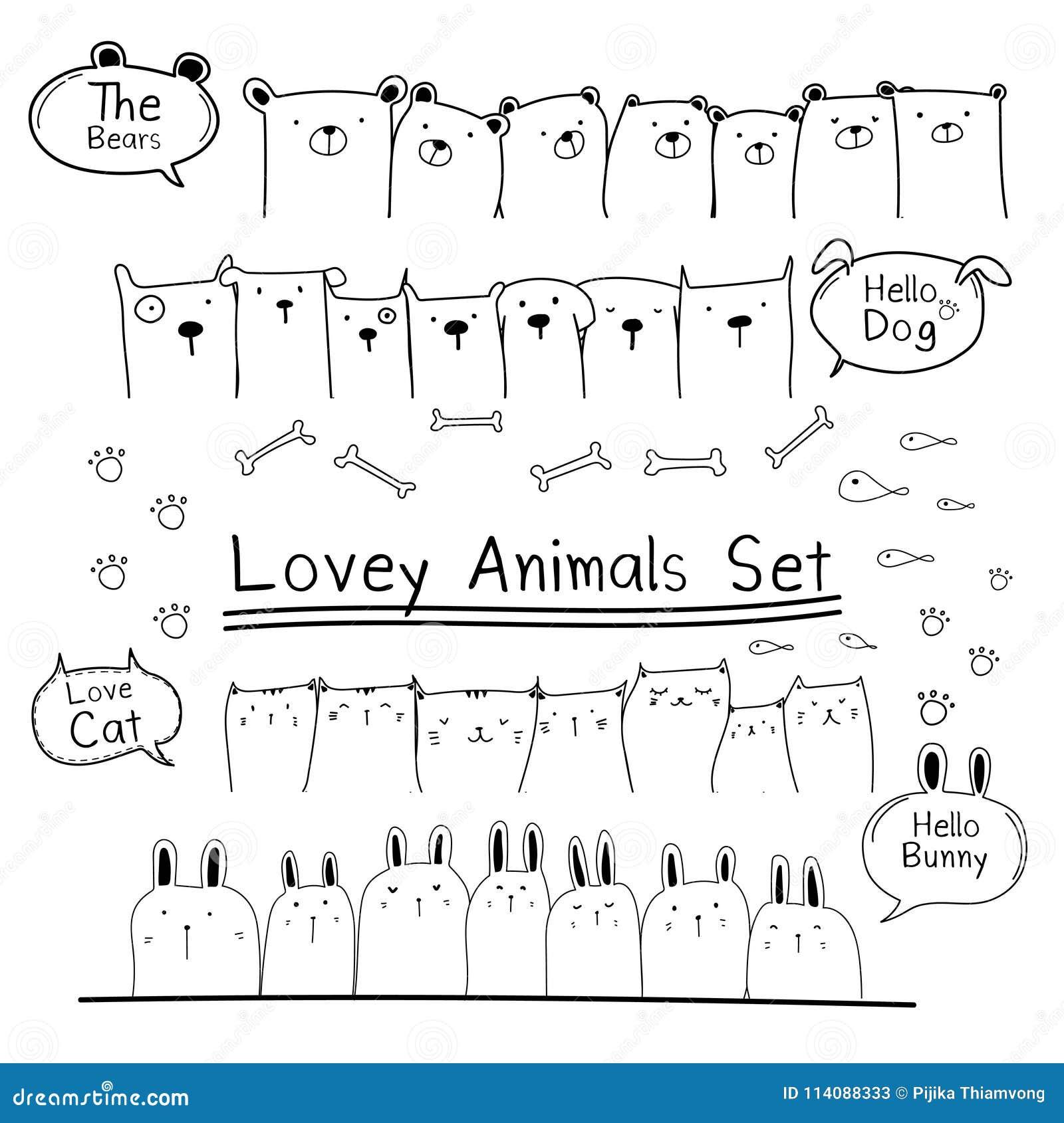 Hand gezeichneter Gekritzel-netter Tier-Satz Schließen Sie Bären, Katze, Bunny And Dogs mit ein
