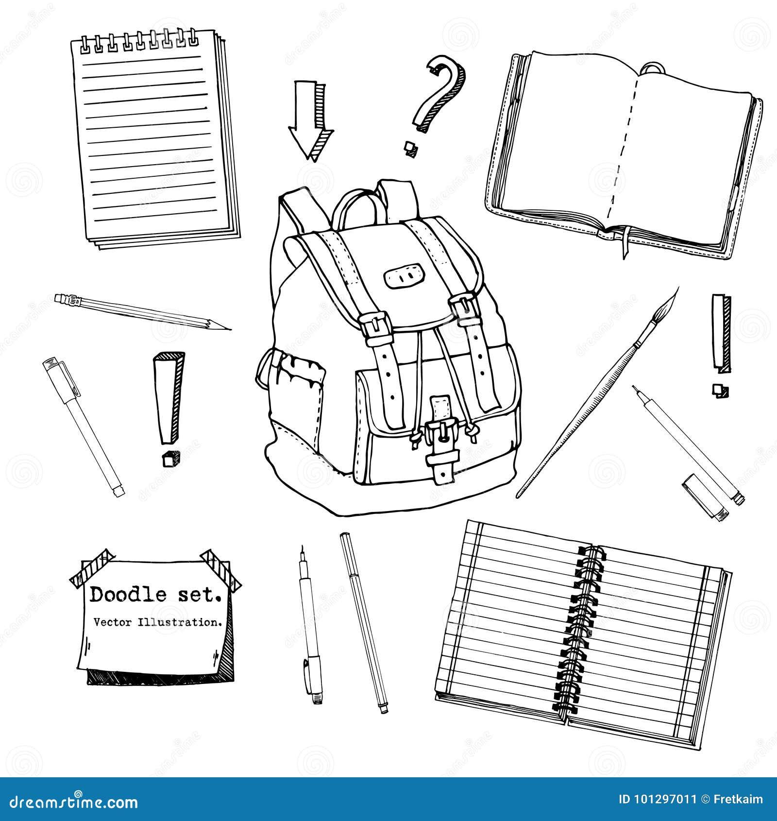 Hand gezeichneter Gekritzelsatz Schuljugendlich Elemente Zurück zu Schule Schreiben von Versorgungen, Schreibheft, Notizbuch, kle