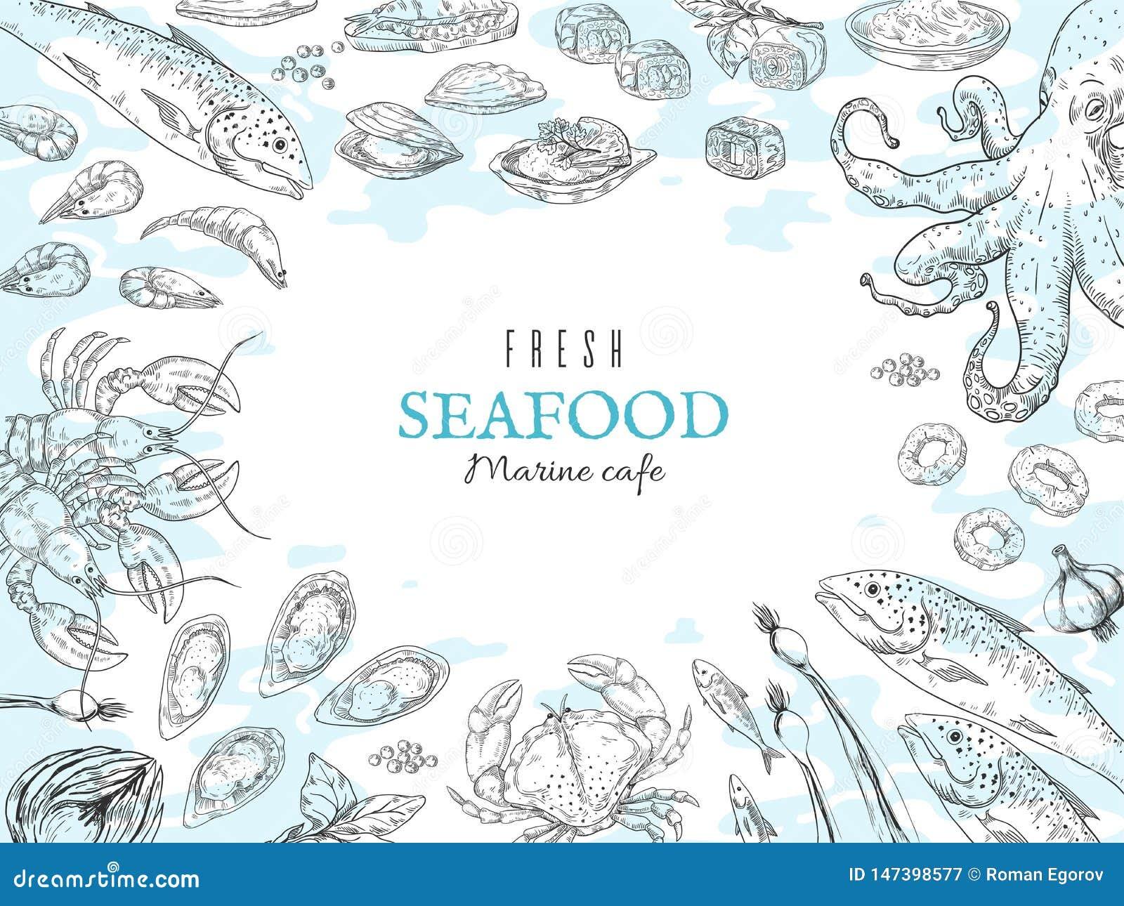 Hand gezeichneter Meeresfr?chtehintergrund Fischrestaurantplakat, feinschmeckerischer Abendtisch, rustikales Marineplakat Vektoro