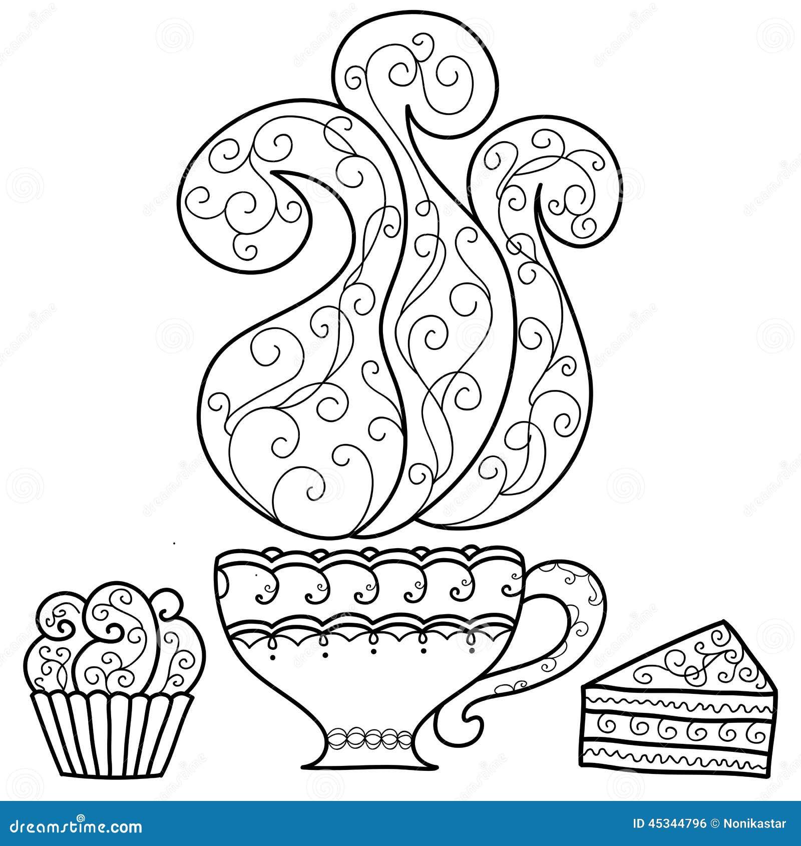 Hand Gezeichneter Tasse Kaffee Und Kuchen Vektor Abbildung