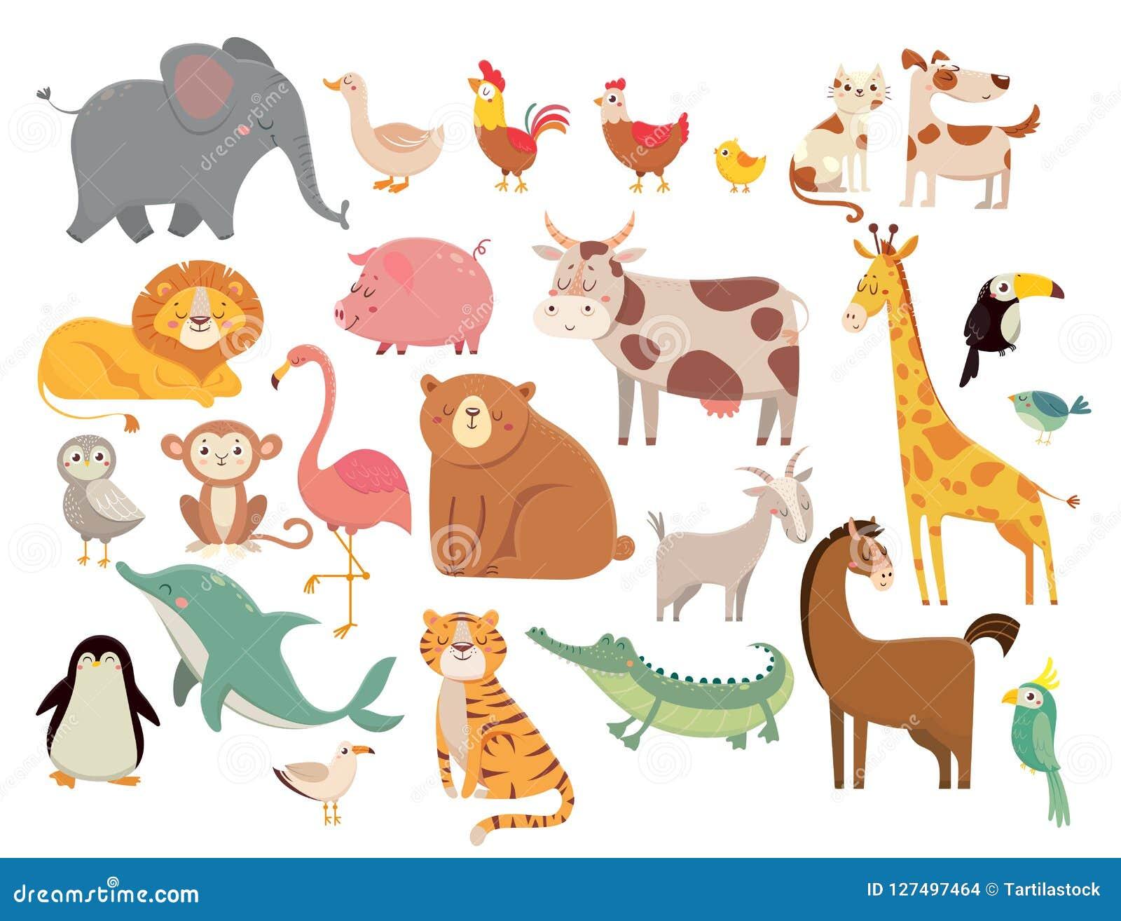 Hand gezeichneter Vektor getrennt auf Weiß Netter Elefant und Löwe, Giraffe und Krokodil, Kuh und Huhn, Hund und Katze Bauernhof-