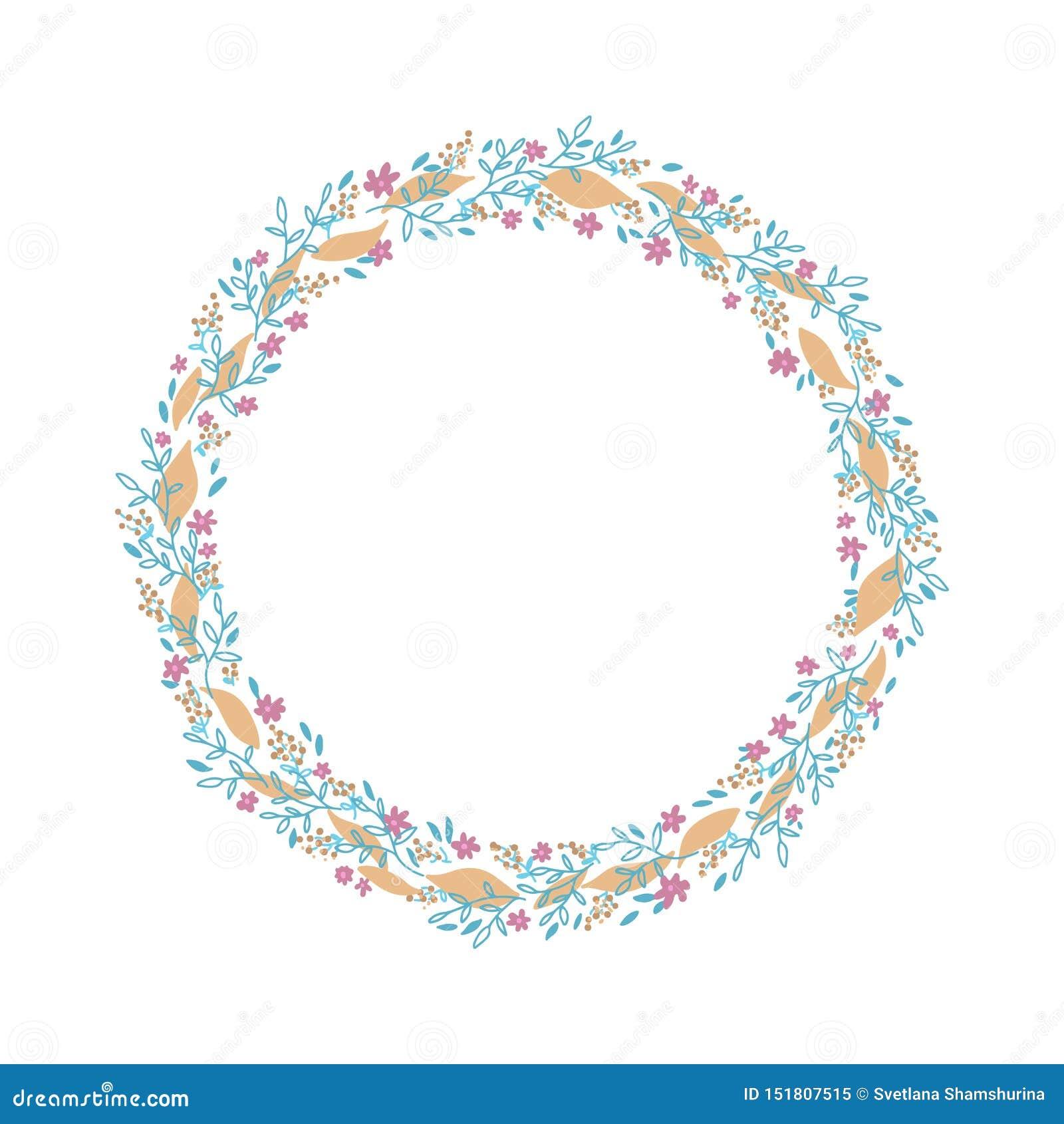 Hand gezeichneter Vektorkranz Blumenkreisrahmengestaltungselement für Einladungen, Grußkarten, Plakate, Blogs Empfindliche Nieder