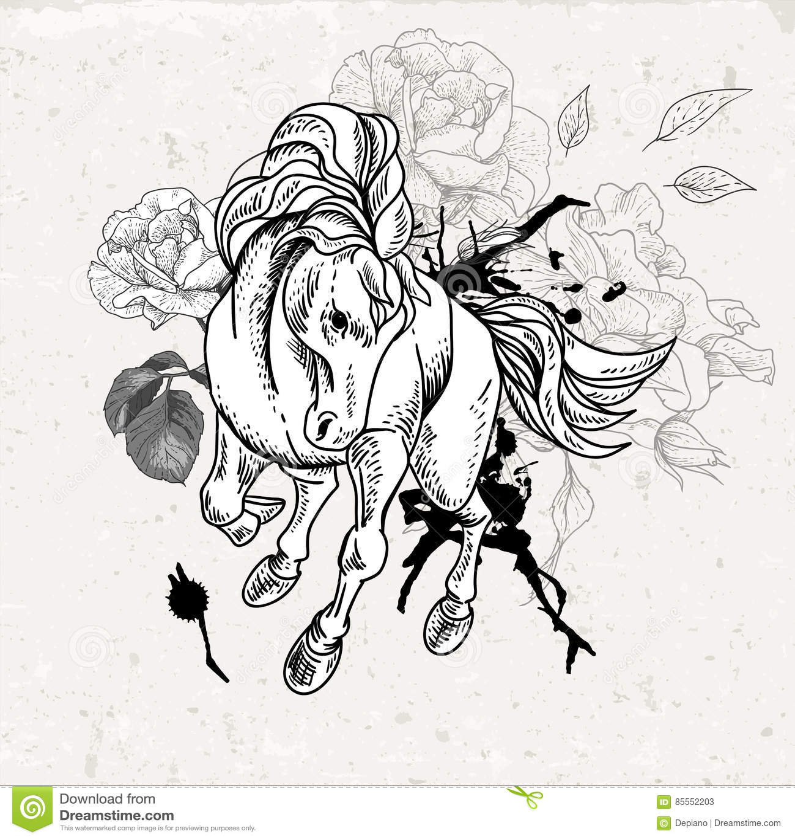 Hand gezeichnetes einfarbiges Skizzenpferd