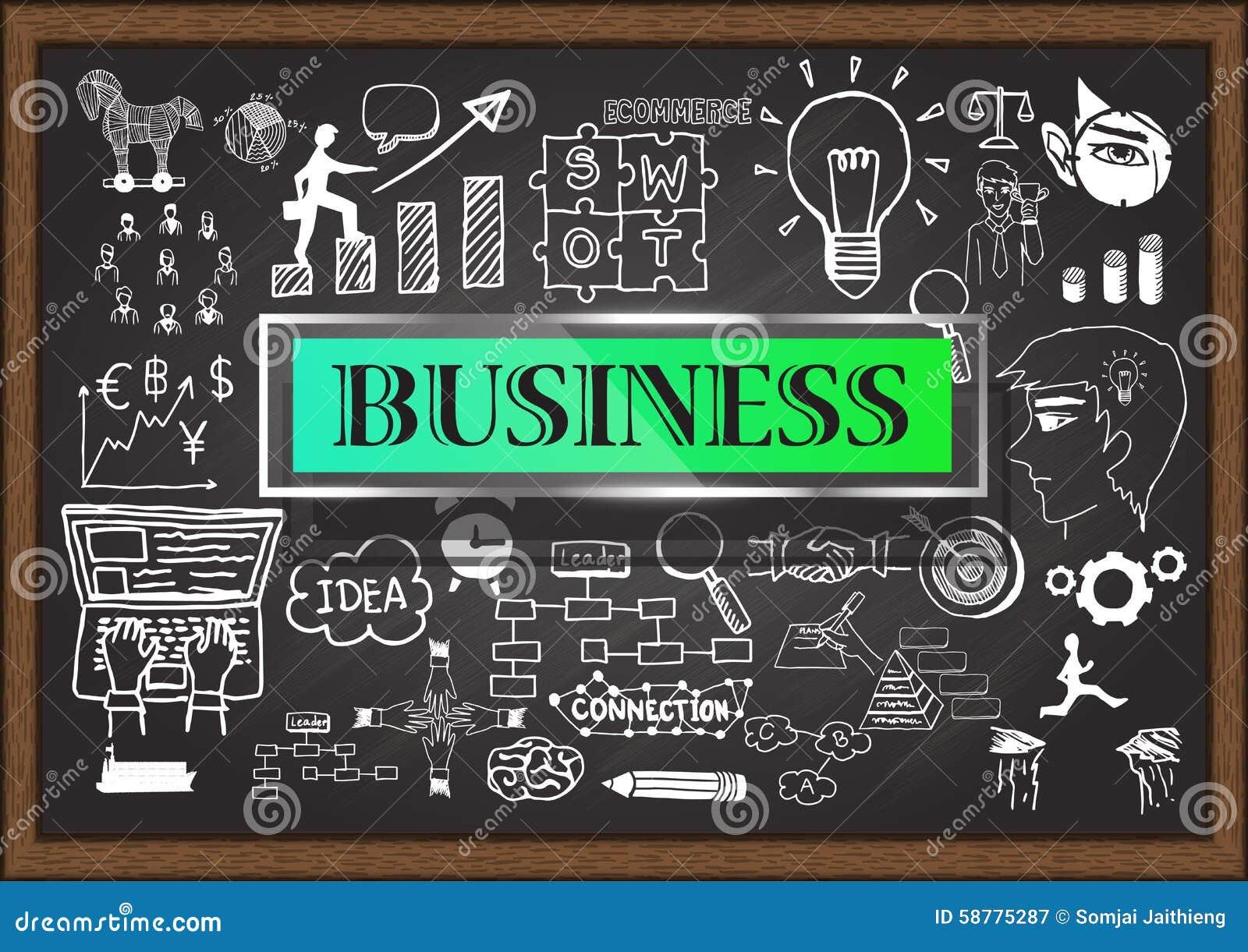 Hand gezeichnetes GESCHÄFT auf Tafel Ausführliche Geschäfts-Karikatur-Serie