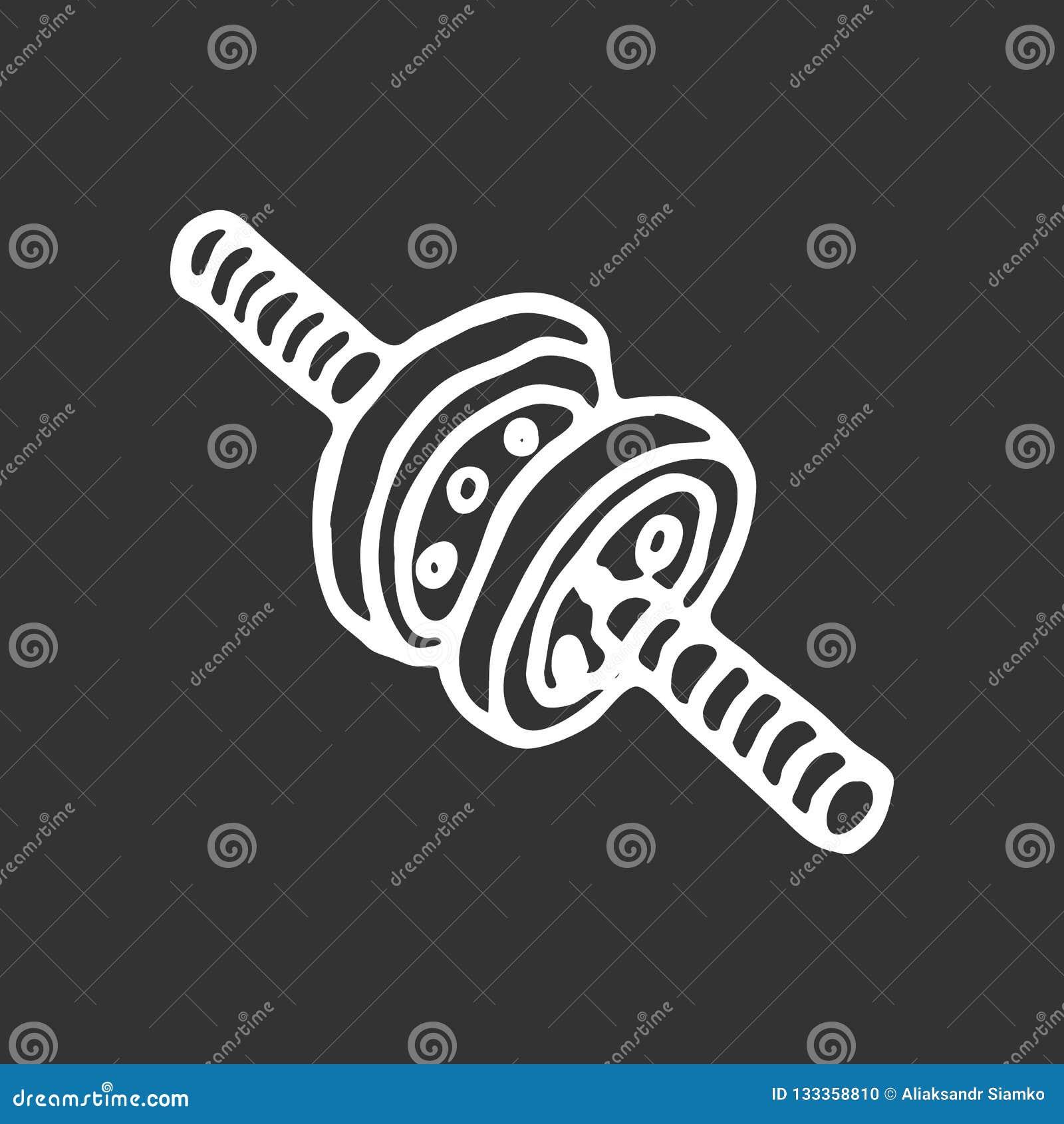 Hand gezeichnetes Gymnastikrollengekritzel Skizzensportausrüstung und