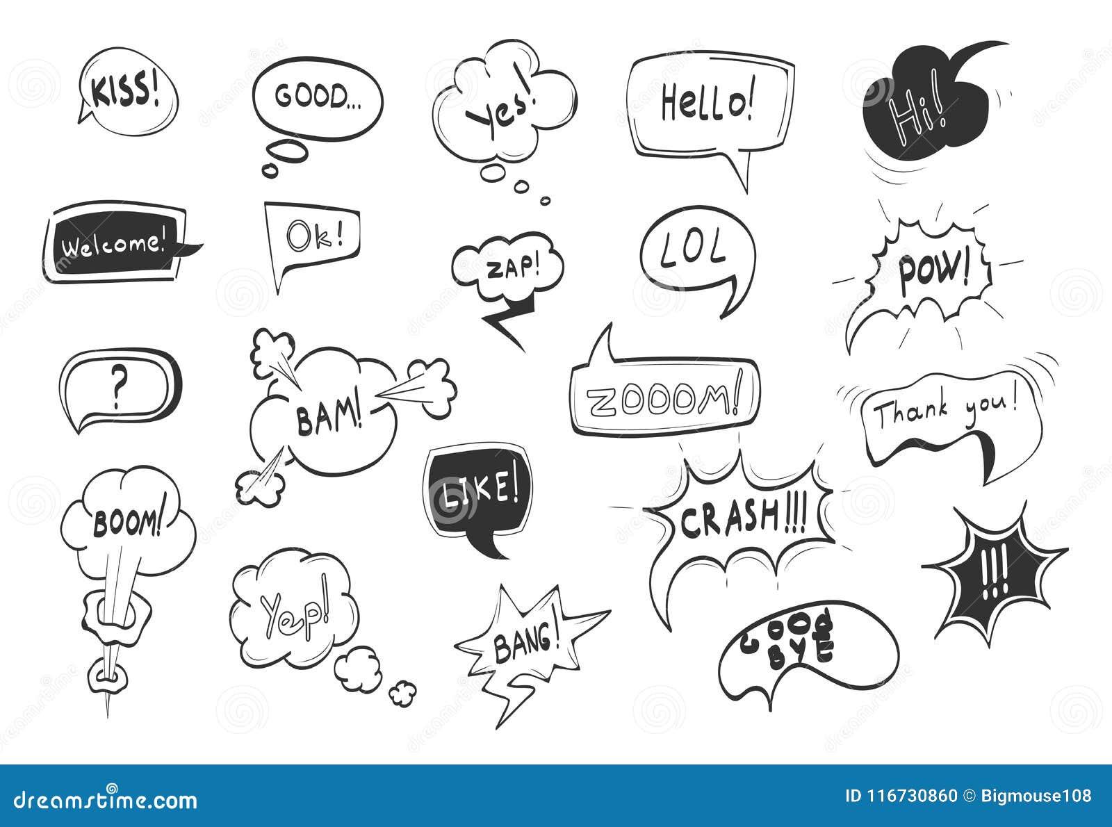 Hand gezeichnetes komisches Sprache-Blasen-Schwarzes zeichnen dünn Ikonen-Satz Vektor