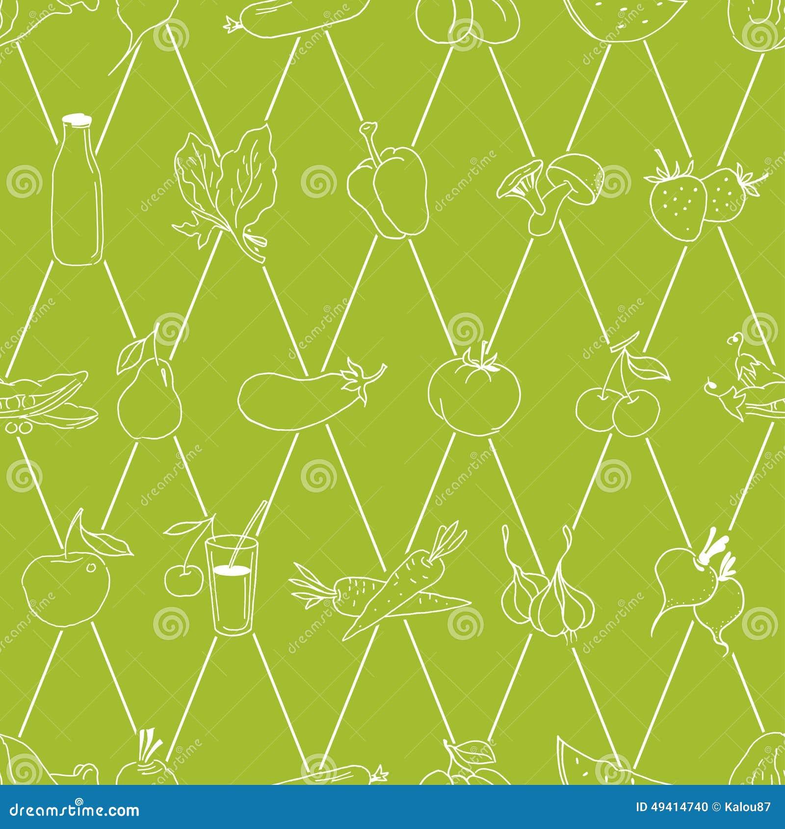 Download Hand Gezeichnetes Lebensmittelmuster Vektor Vektor Abbildung - Illustration von diät, hintergrund: 49414740