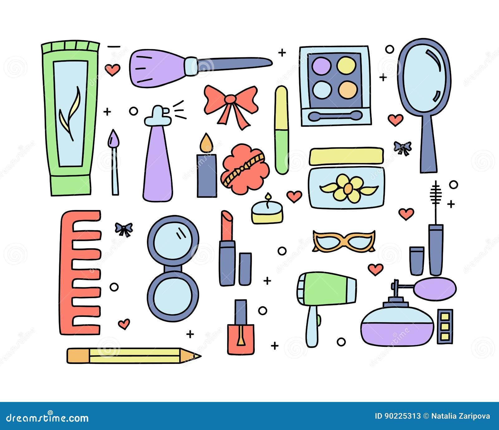 Hand gezeichnetes Make-up und Kosmetikfarbgekritzel