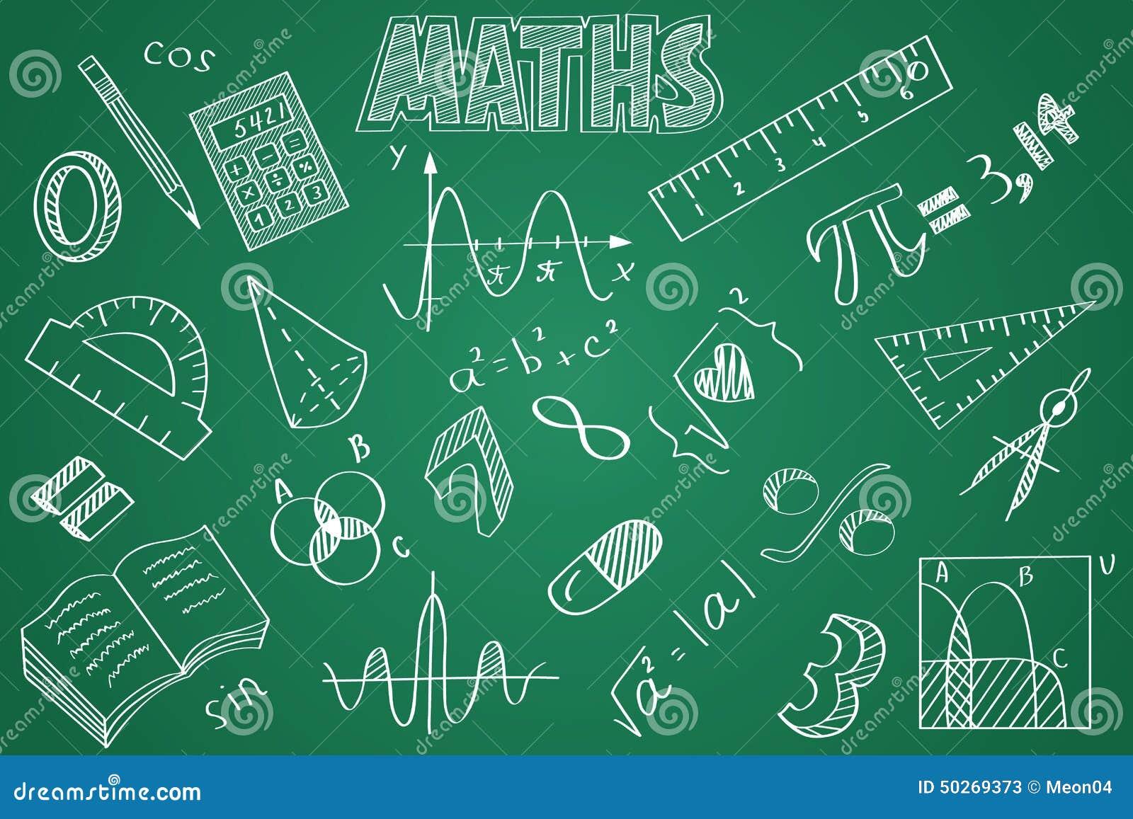 3d Designer Hand Gezeichnetes Mathe Eingestellt Kreide Auf Der Tafel