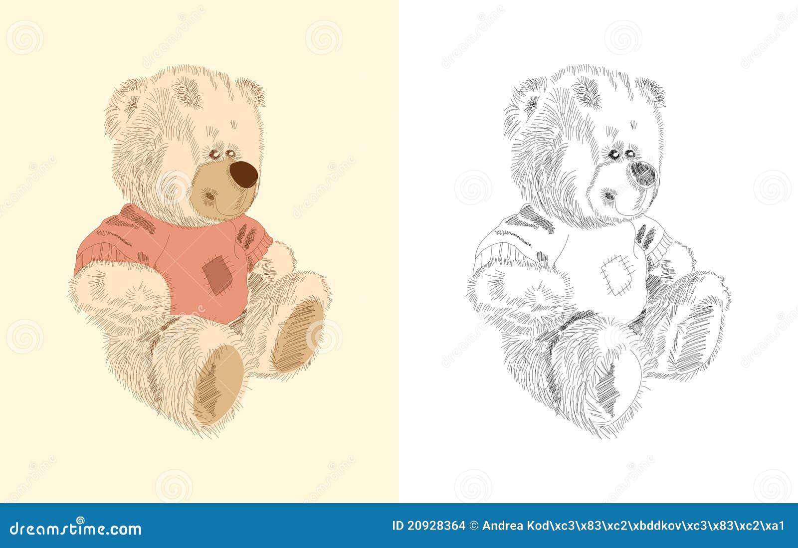 Hand Gezeichnetes Spielzeug - Brauner Teddybär Vektor Abbildung ...