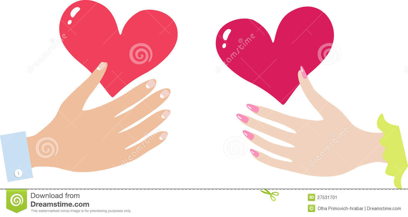 Hand Of The Girl With Heart And A Hand Of The Boy Stock Vector ...