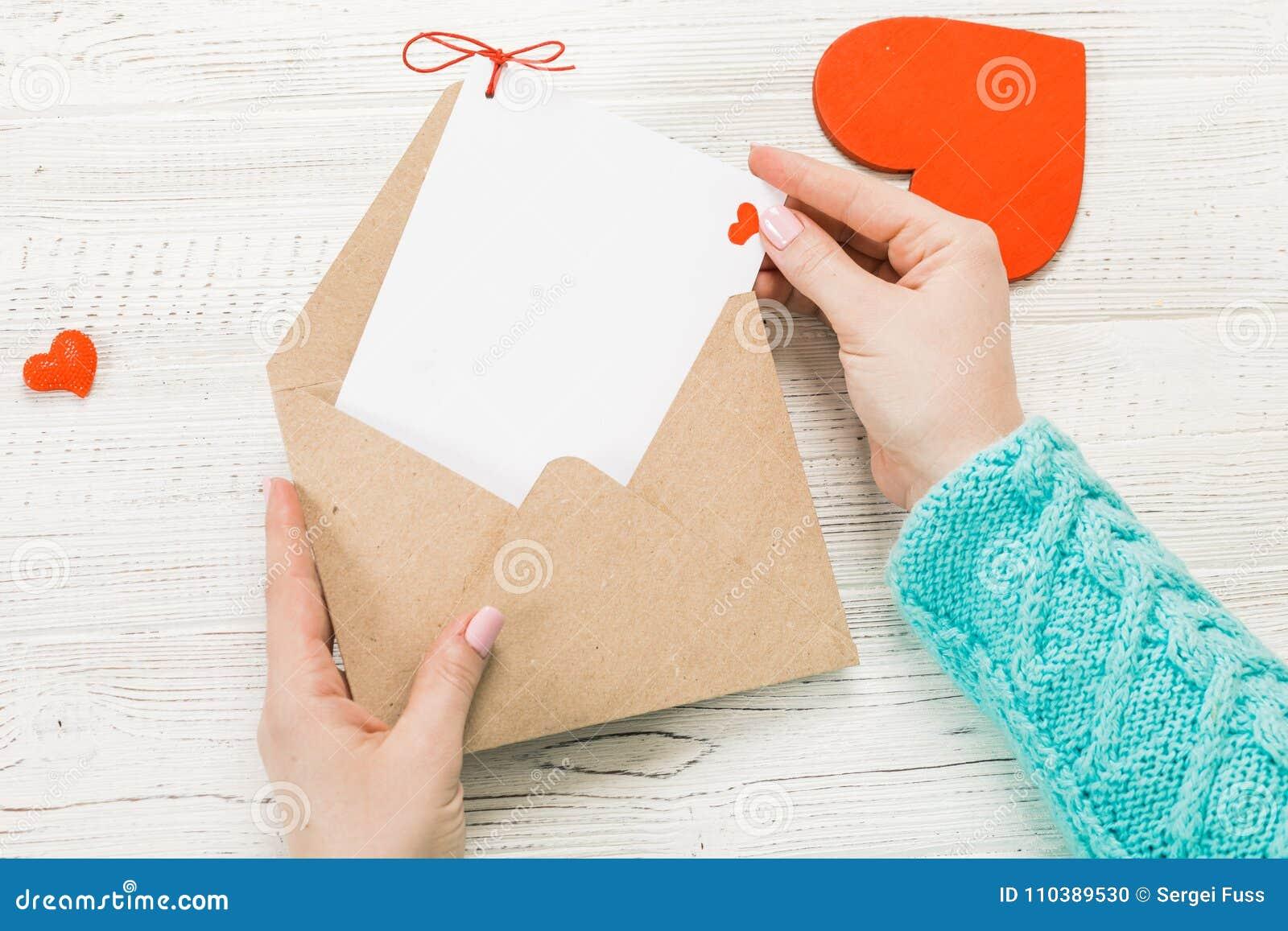 Hand Of Girl Writing Love Letter On Saint Valentines Day Handma