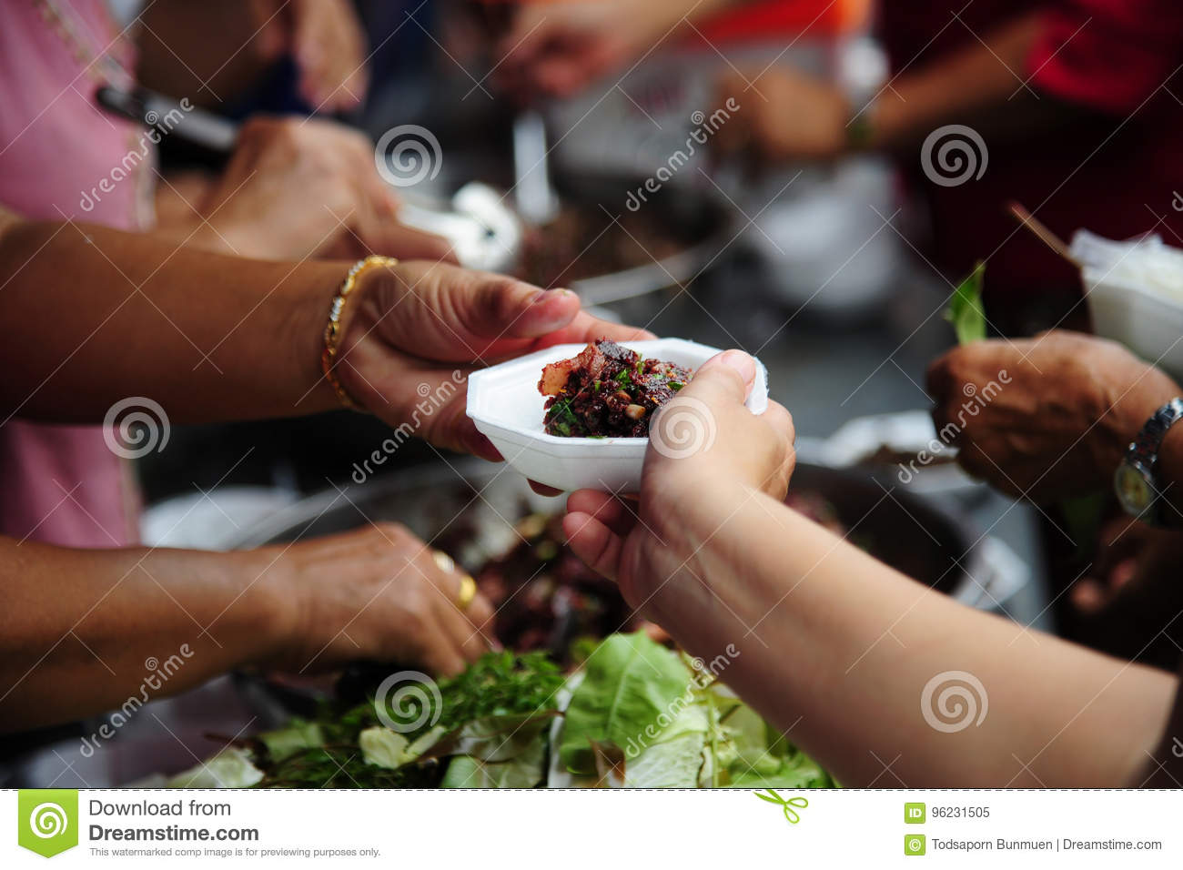 Hand Give Food To Hands Of A Beggar Stock Image - Image of ...  Hand Give Food ...