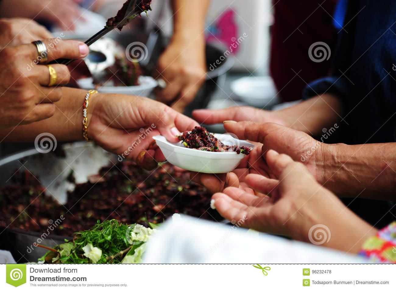 Hand Give Food To Hands Of A Beggar Stock Photo - Image of ...  Hand Give Food ...