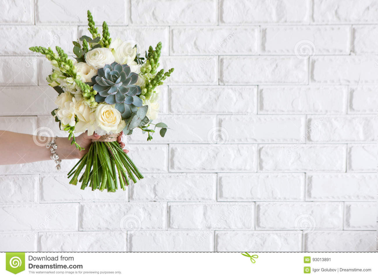 Hand Gives Bunch With White Roses And Succulent Stock Image Image Of Color Bunch 93013891